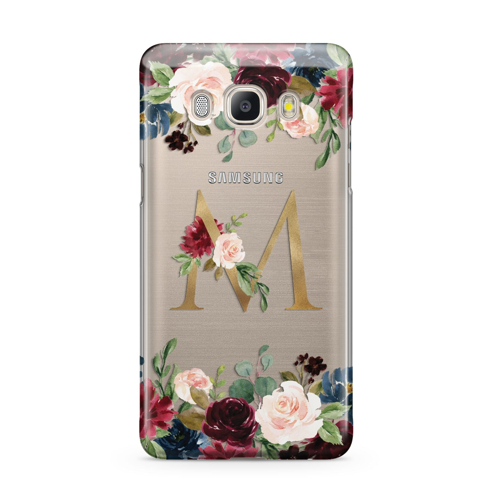 Personalised Clear Monogram Floral Samsung Galaxy J5 2016 Case