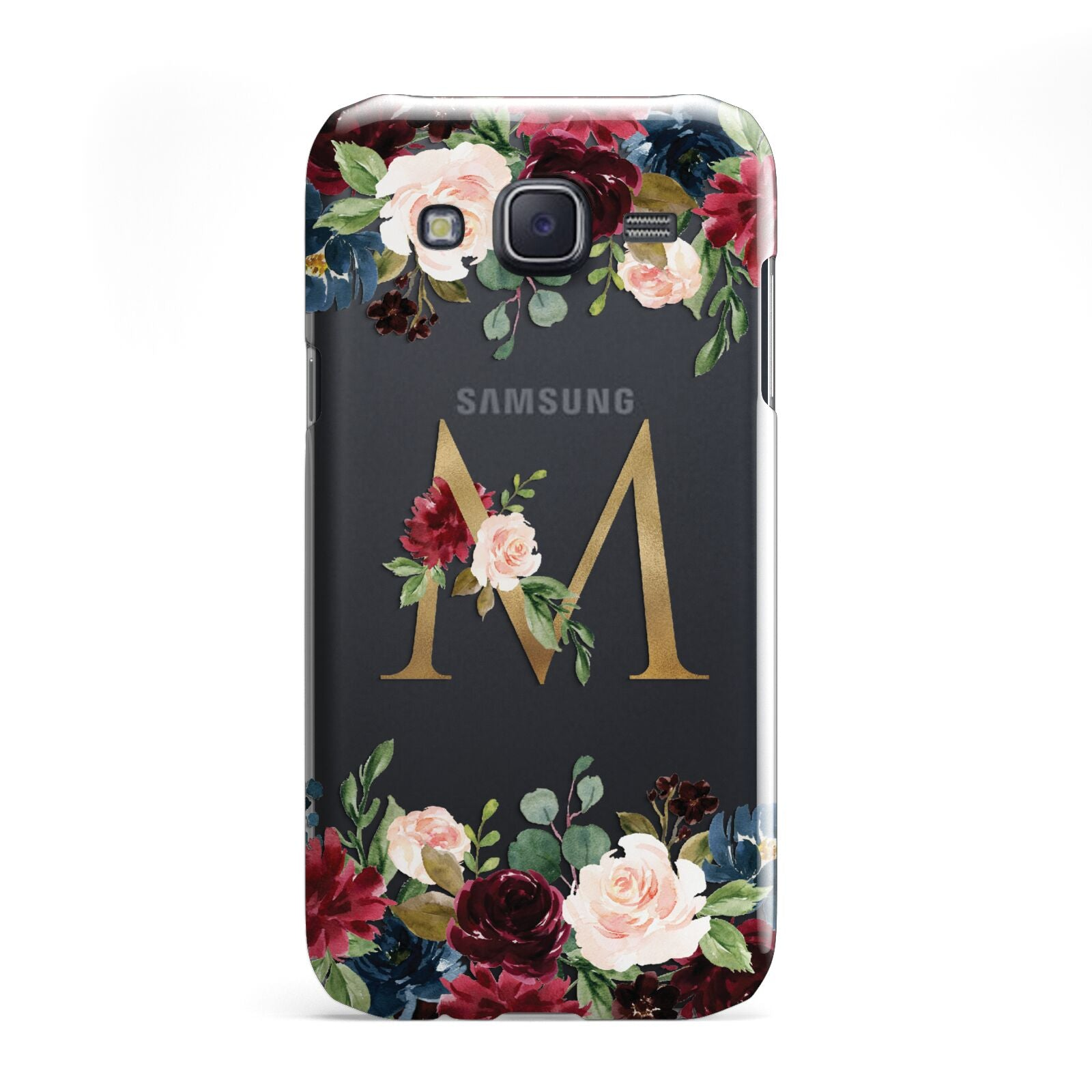 Personalised Clear Monogram Floral Samsung Galaxy J5 Case