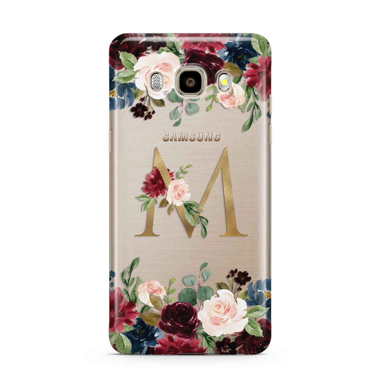 Personalised Clear Monogram Floral Samsung Galaxy J7 2016 Case on gold phone