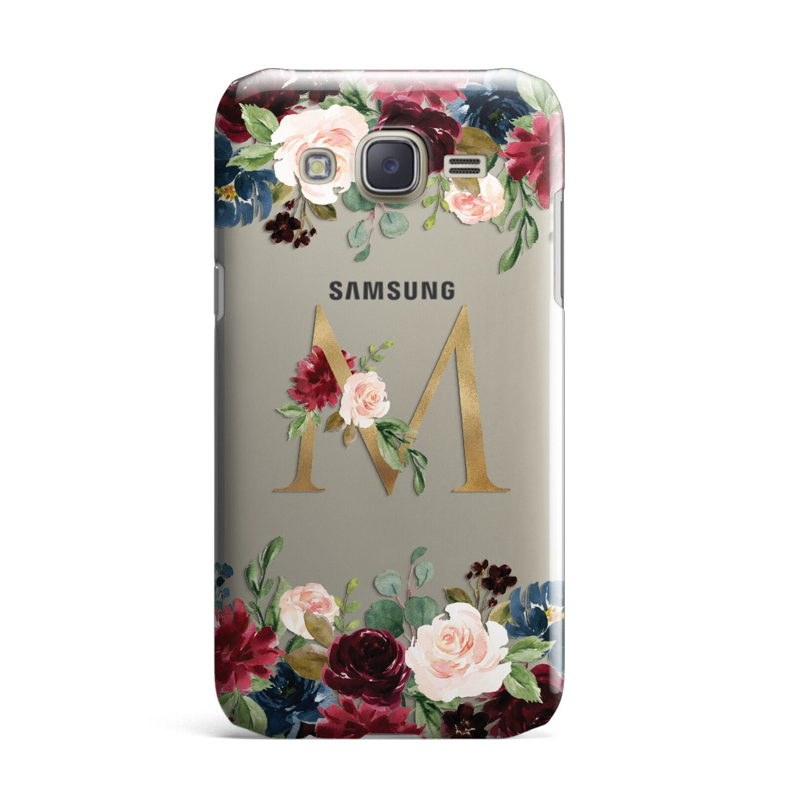 Personalised Clear Monogram Floral Samsung Galaxy J7 Case