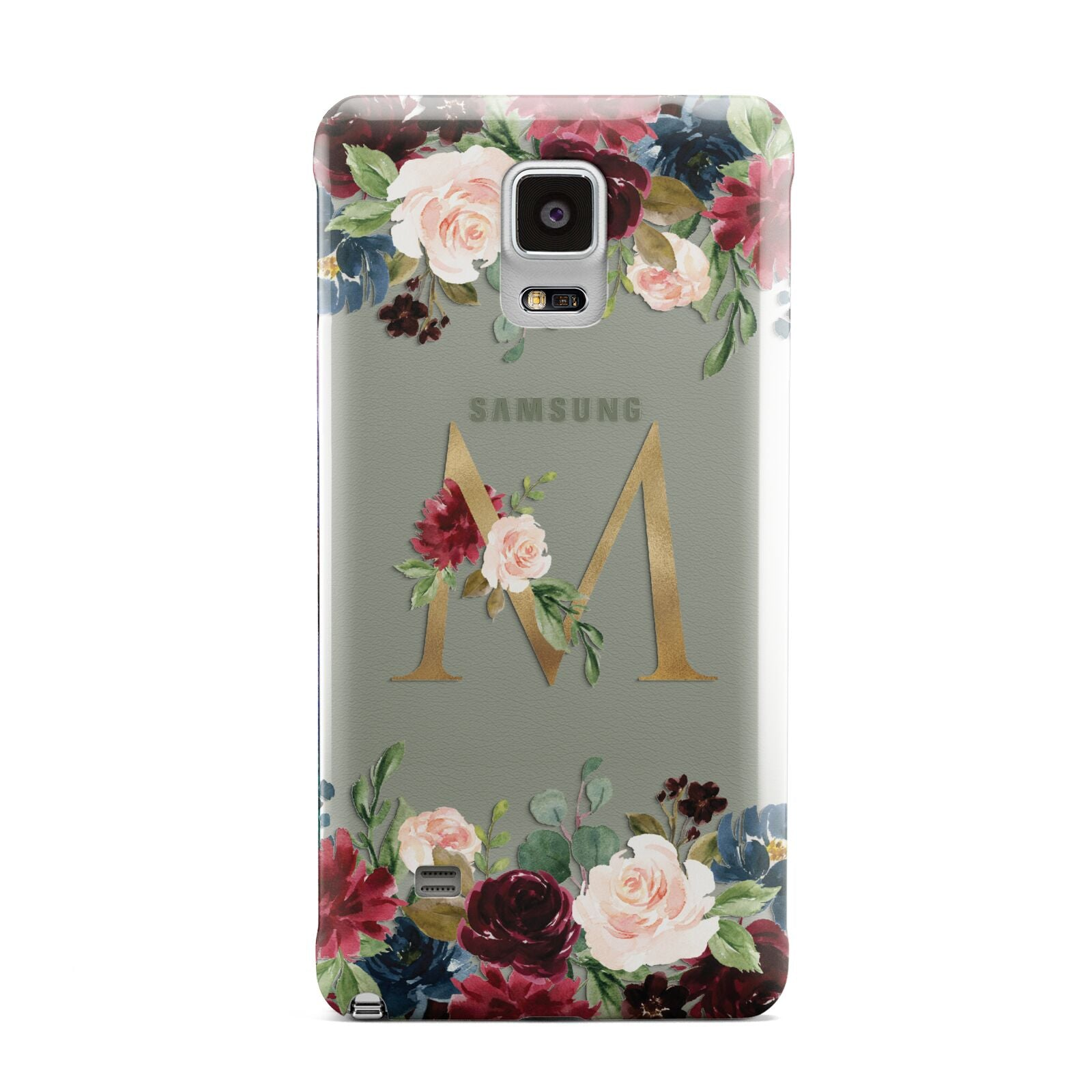 Personalised Clear Monogram Floral Samsung Galaxy Note 4 Case