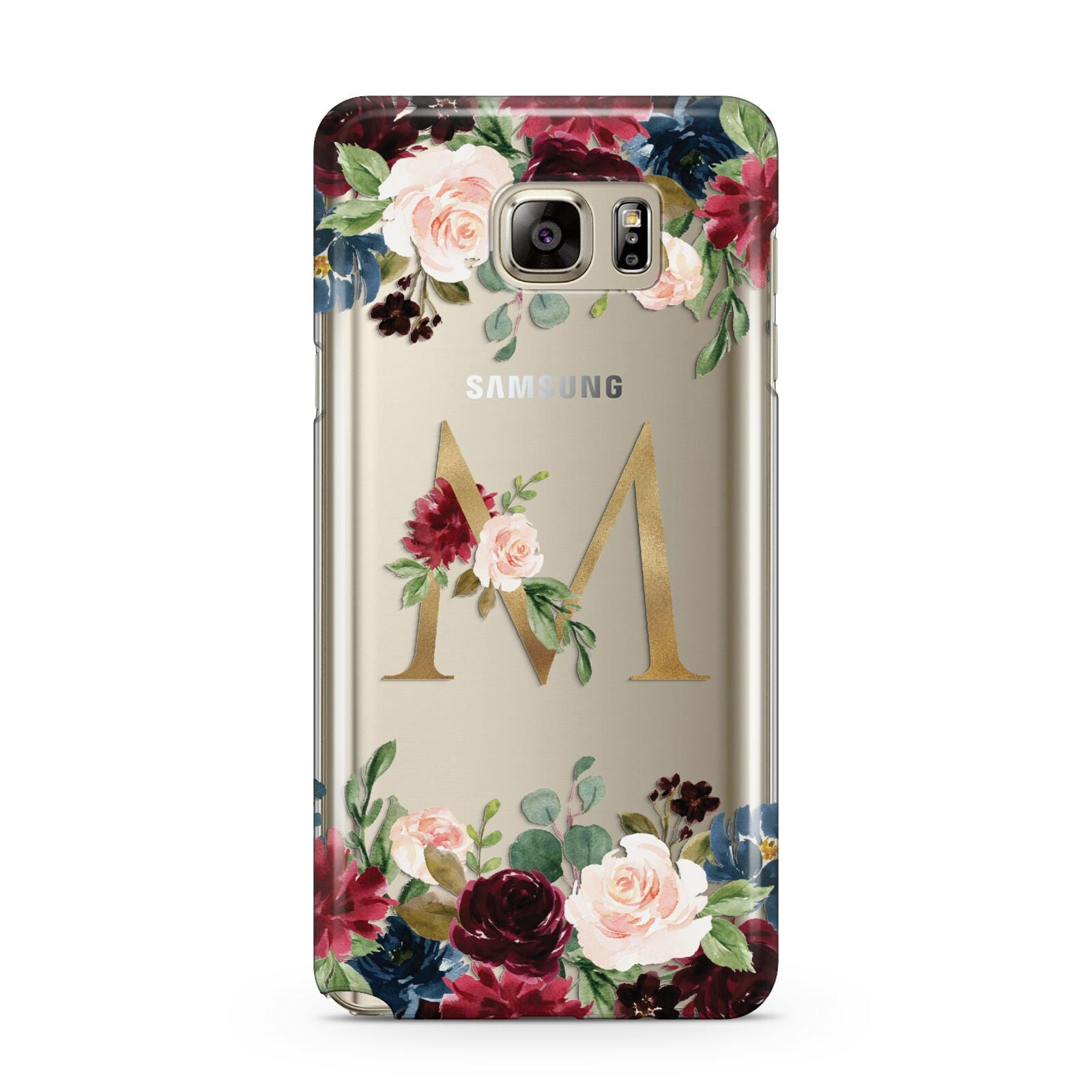 Personalised Clear Monogram Floral Samsung Galaxy Note 5 Case