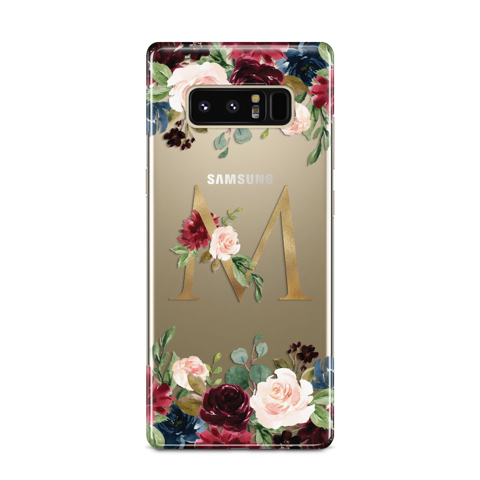 Personalised Clear Monogram Floral Samsung Galaxy Note 8 Case
