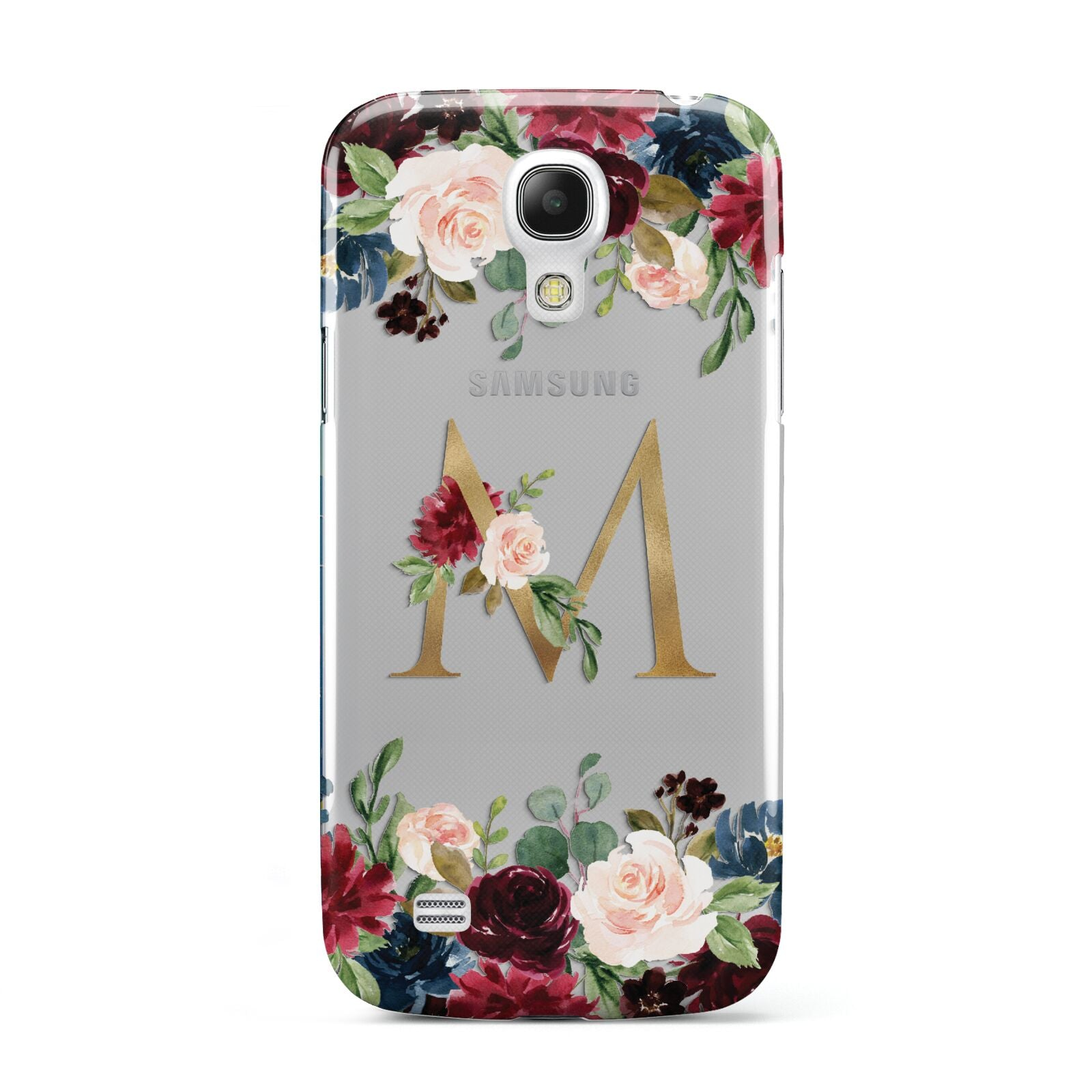 Personalised Clear Monogram Floral Samsung Galaxy S4 Mini Case