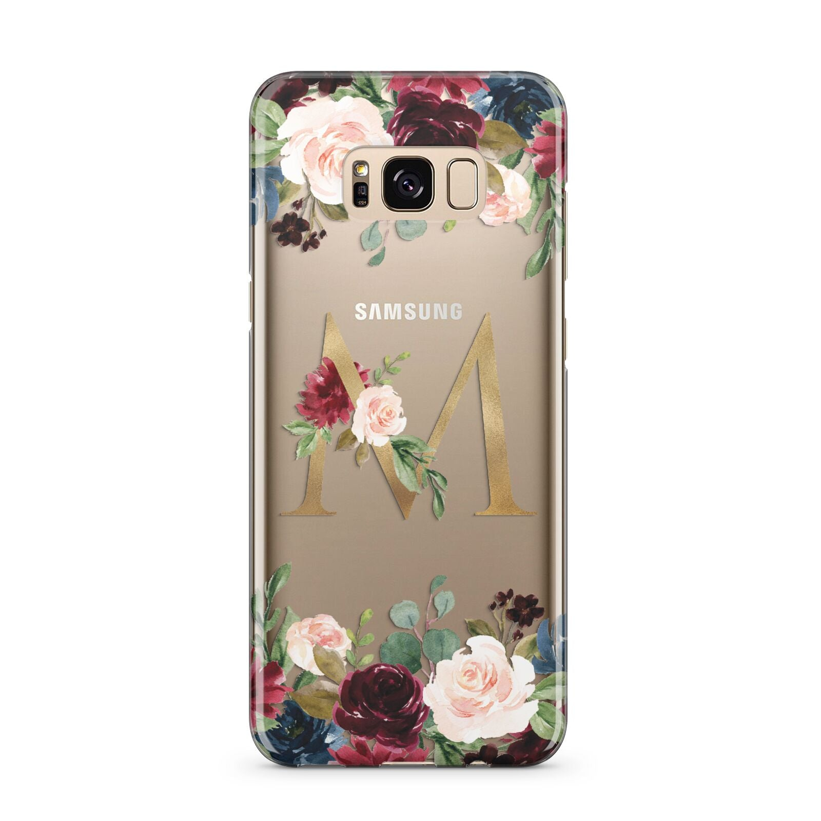 Personalised Clear Monogram Floral Samsung Galaxy S8 Plus Case