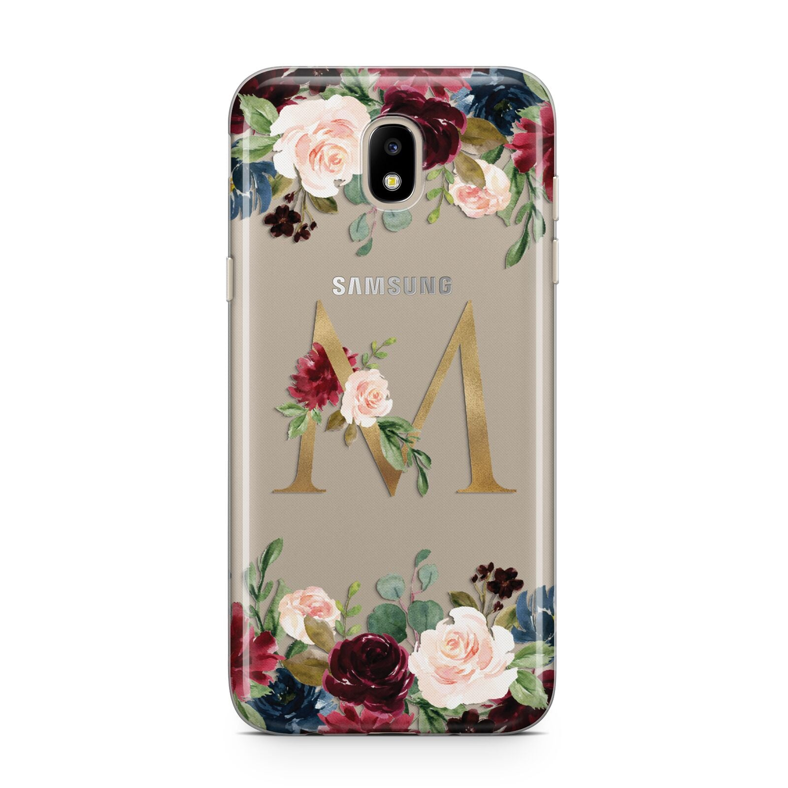 Personalised Clear Monogram Floral Samsung J5 2017 Case