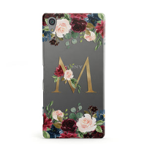 Personalised Clear Monogram Floral Sony Xperia Case