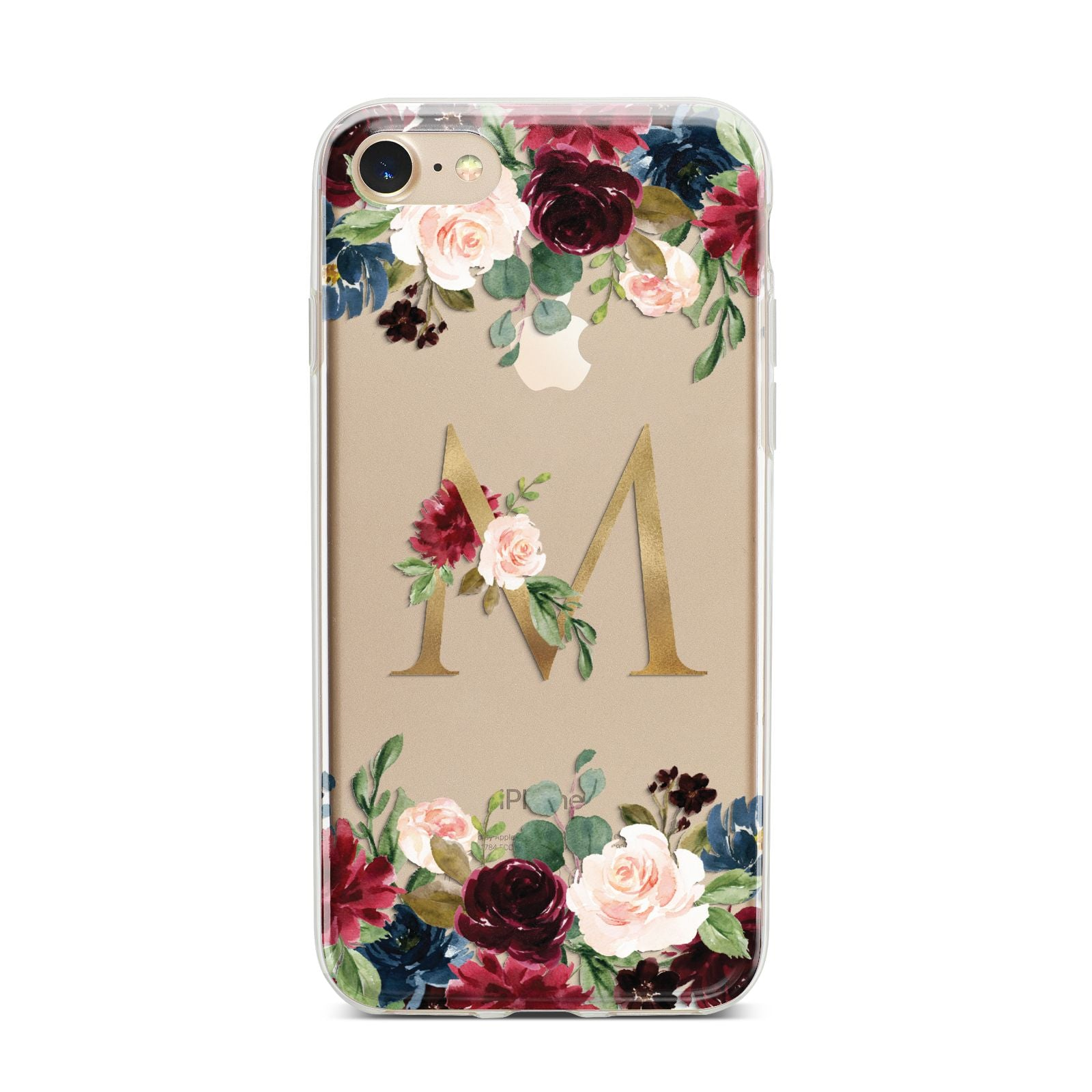 Personalised Clear Monogram Floral iPhone 7 Bumper Case on Gold iPhone