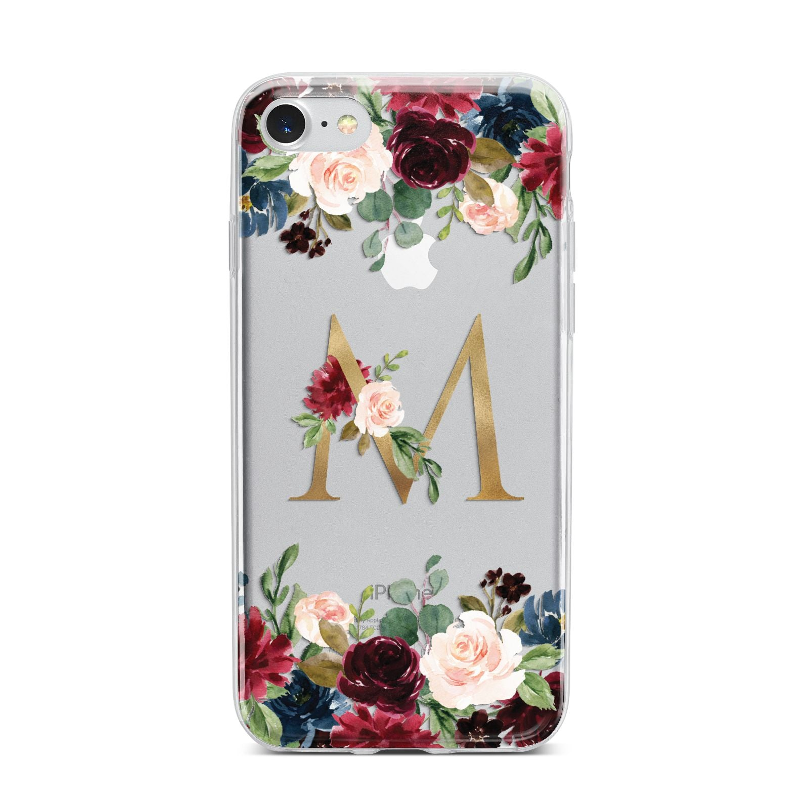 Personalised Clear Monogram Floral iPhone 7 Bumper Case on Silver iPhone