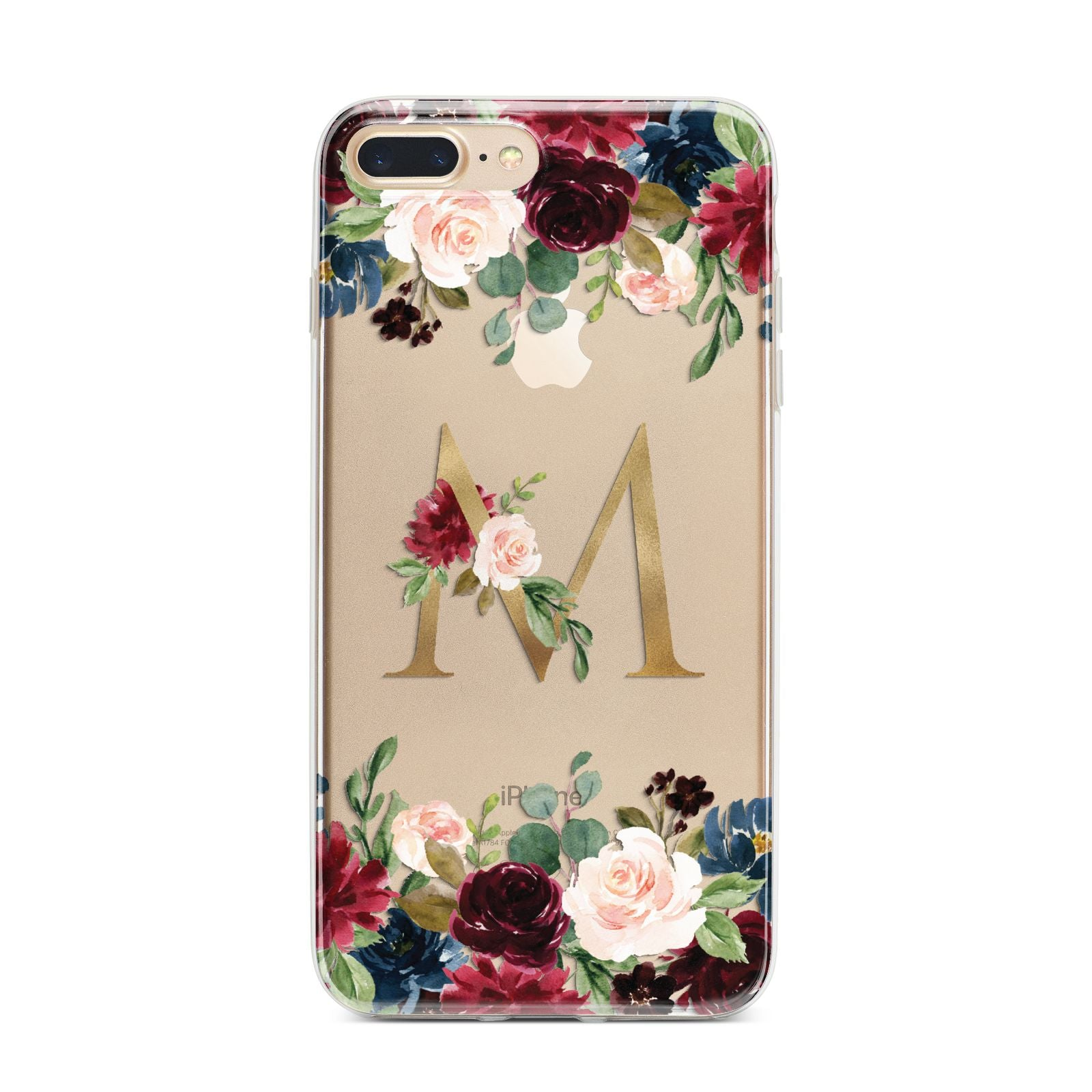 Personalised Clear Monogram Floral iPhone 7 Plus Bumper Case on Gold iPhone