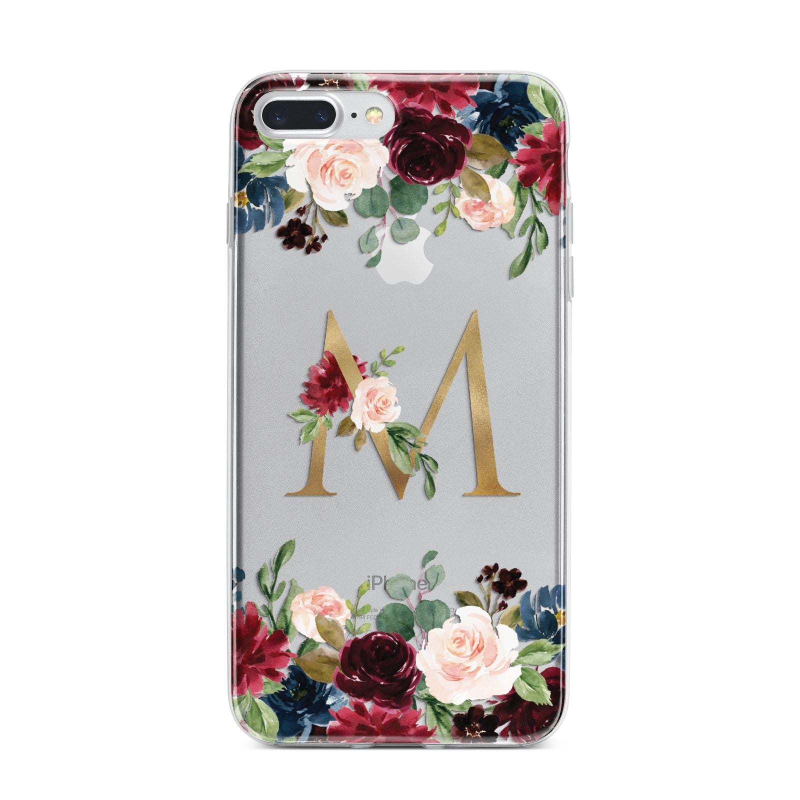 Personalised Clear Monogram Floral iPhone 7 Plus Bumper Case on Silver iPhone