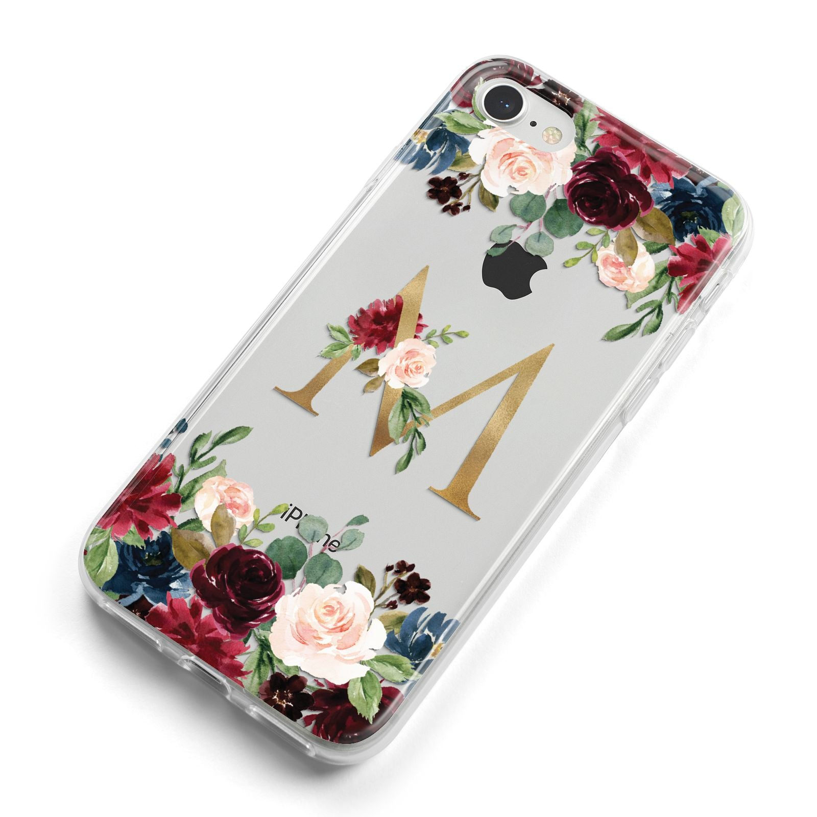 Personalised Clear Monogram Floral iPhone 8 Bumper Case on Silver iPhone Alternative Image
