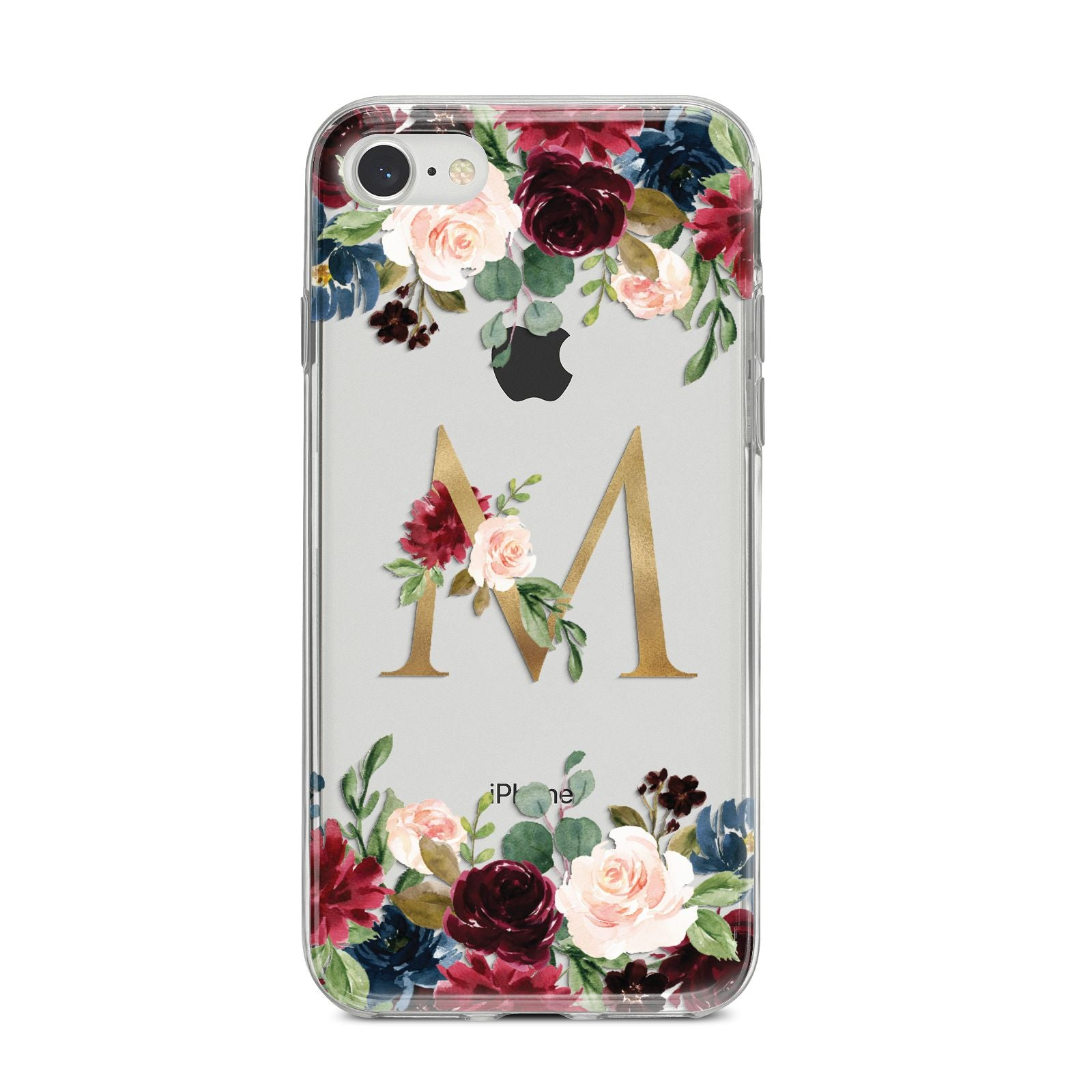 Personalised Clear Monogram Floral iPhone 8 Bumper Case on Silver iPhone