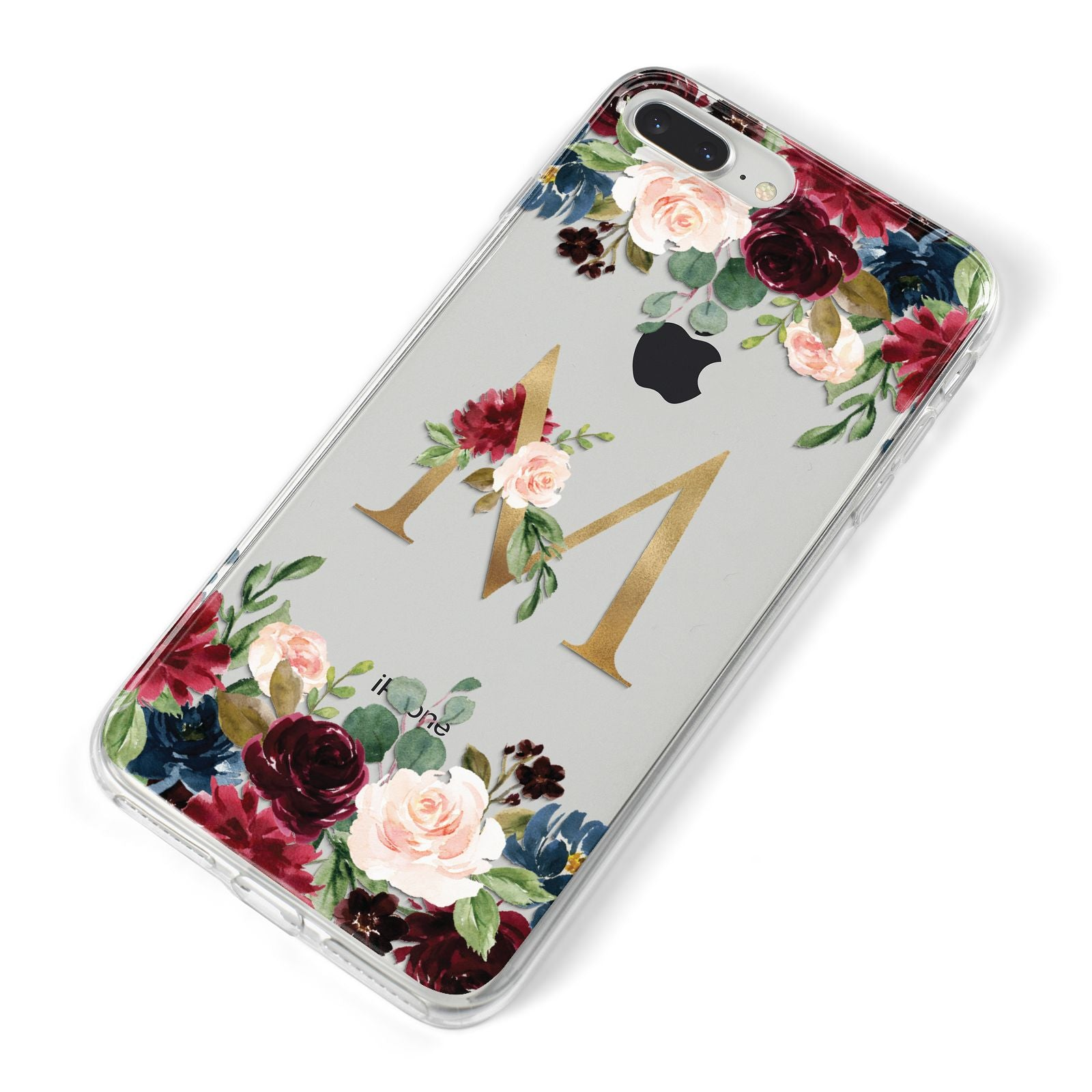 Personalised Clear Monogram Floral iPhone 8 Plus Bumper Case on Silver iPhone Alternative Image