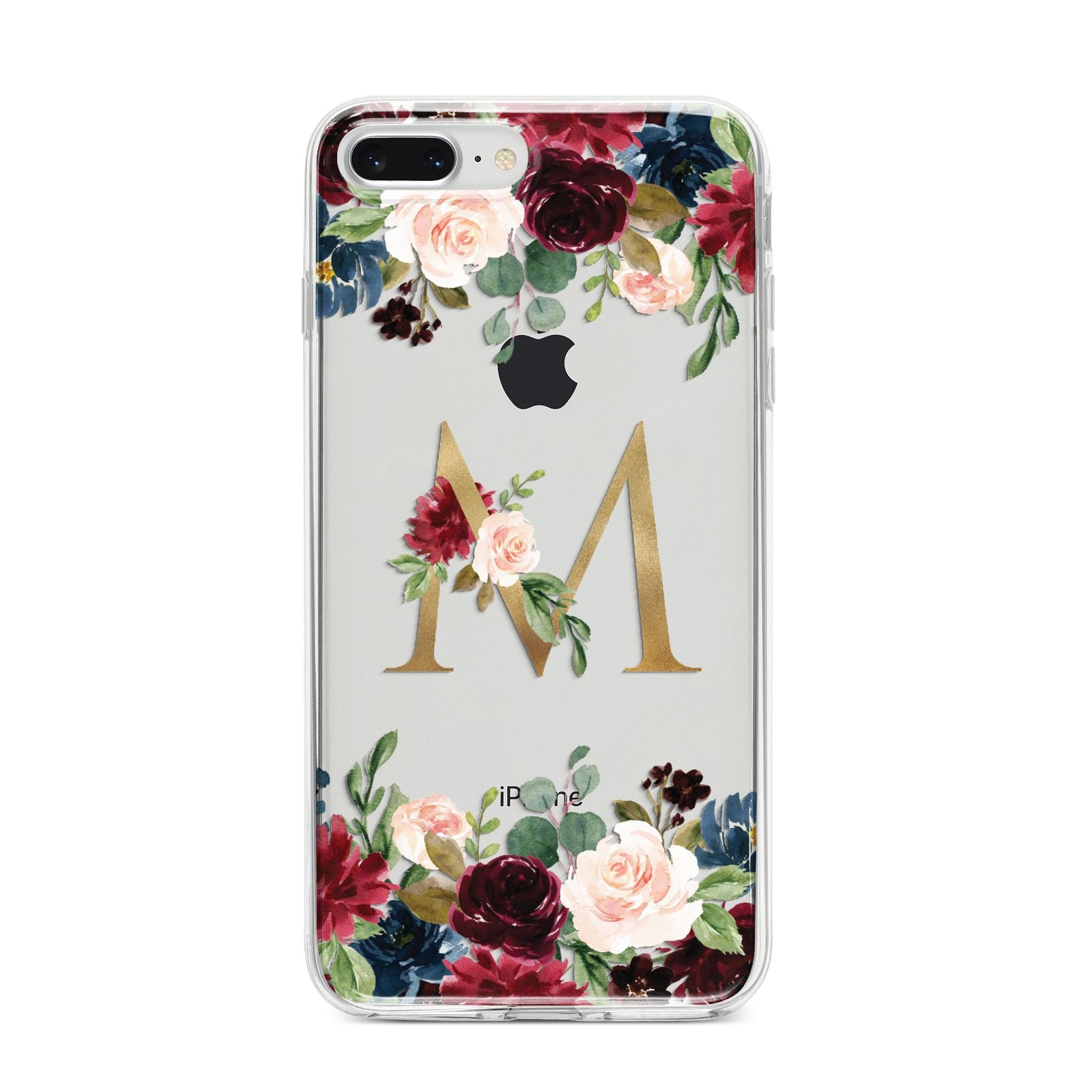 Personalised Clear Monogram Floral iPhone 8 Plus Bumper Case on Silver iPhone