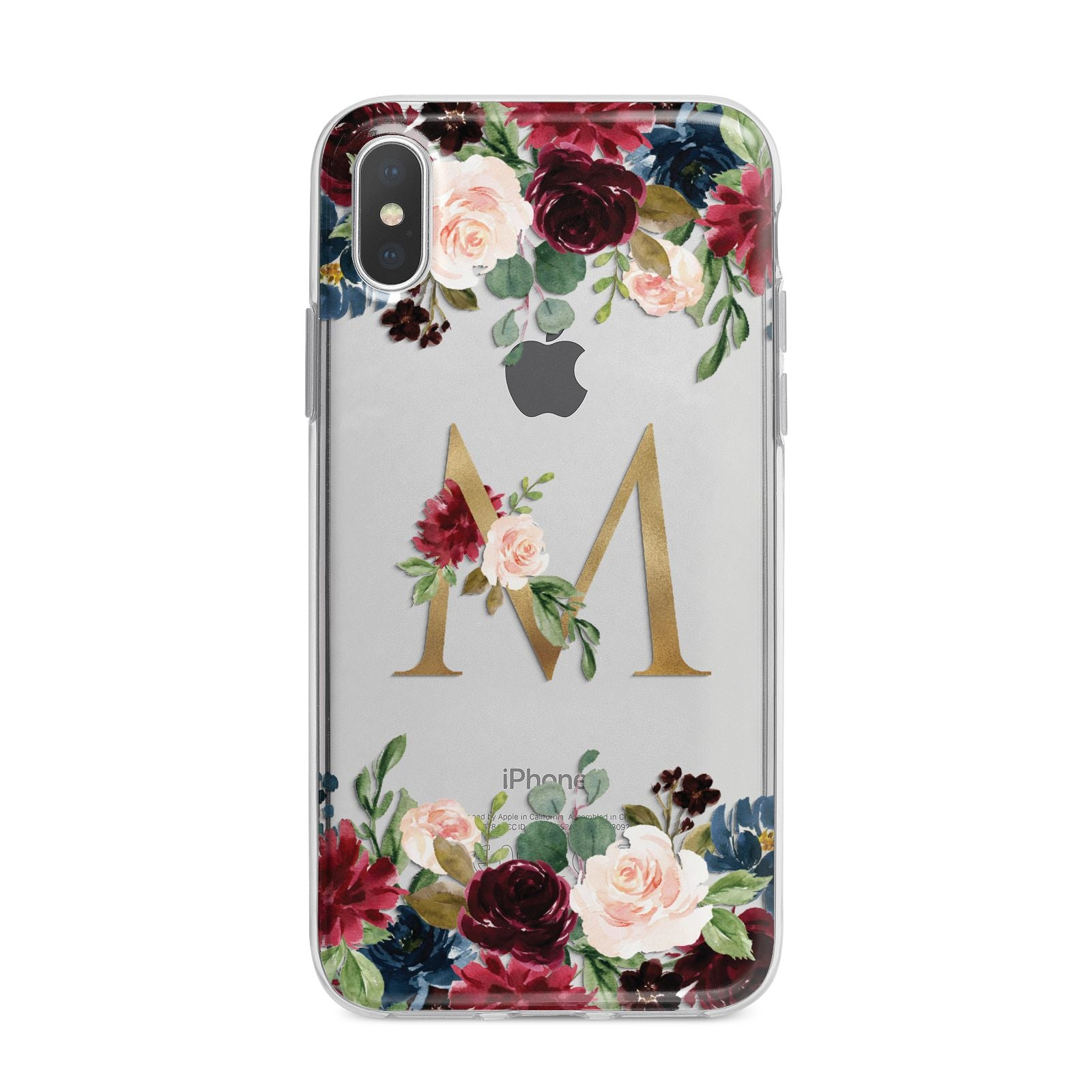 Personalised Clear Monogram Floral iPhone X Bumper Case on Silver iPhone Alternative Image 1