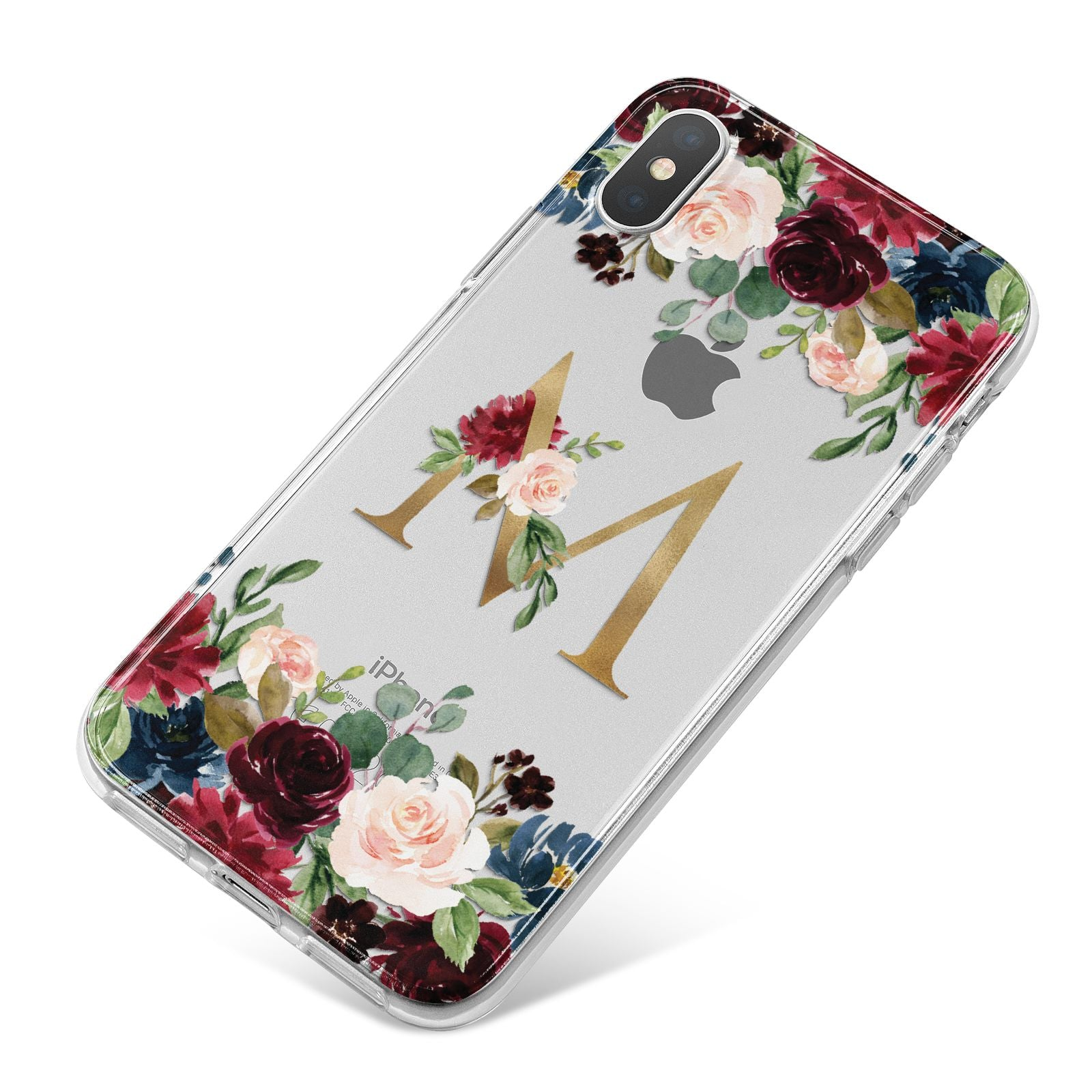 Personalised Clear Monogram Floral iPhone X Bumper Case on Silver iPhone