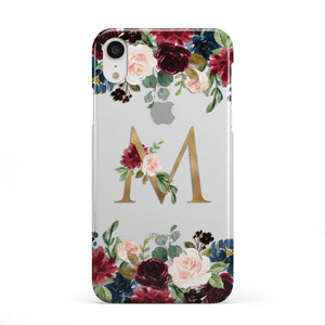 Personalised Clear Monogram Floral Apple iPhone Case