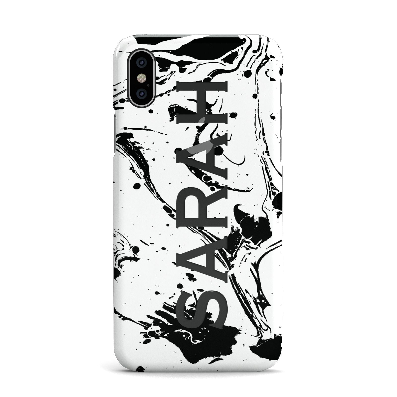 Personalised Clear Name Black Swirl Marble Custom Apple iPhone X Case
