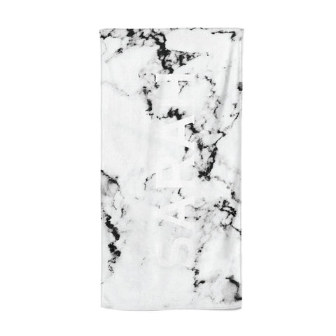 Personalised Clear Name Black White Marble Custom Beach Towel