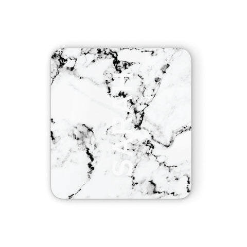 Personalised Clear Name Black White Marble Custom Coasters set of 4