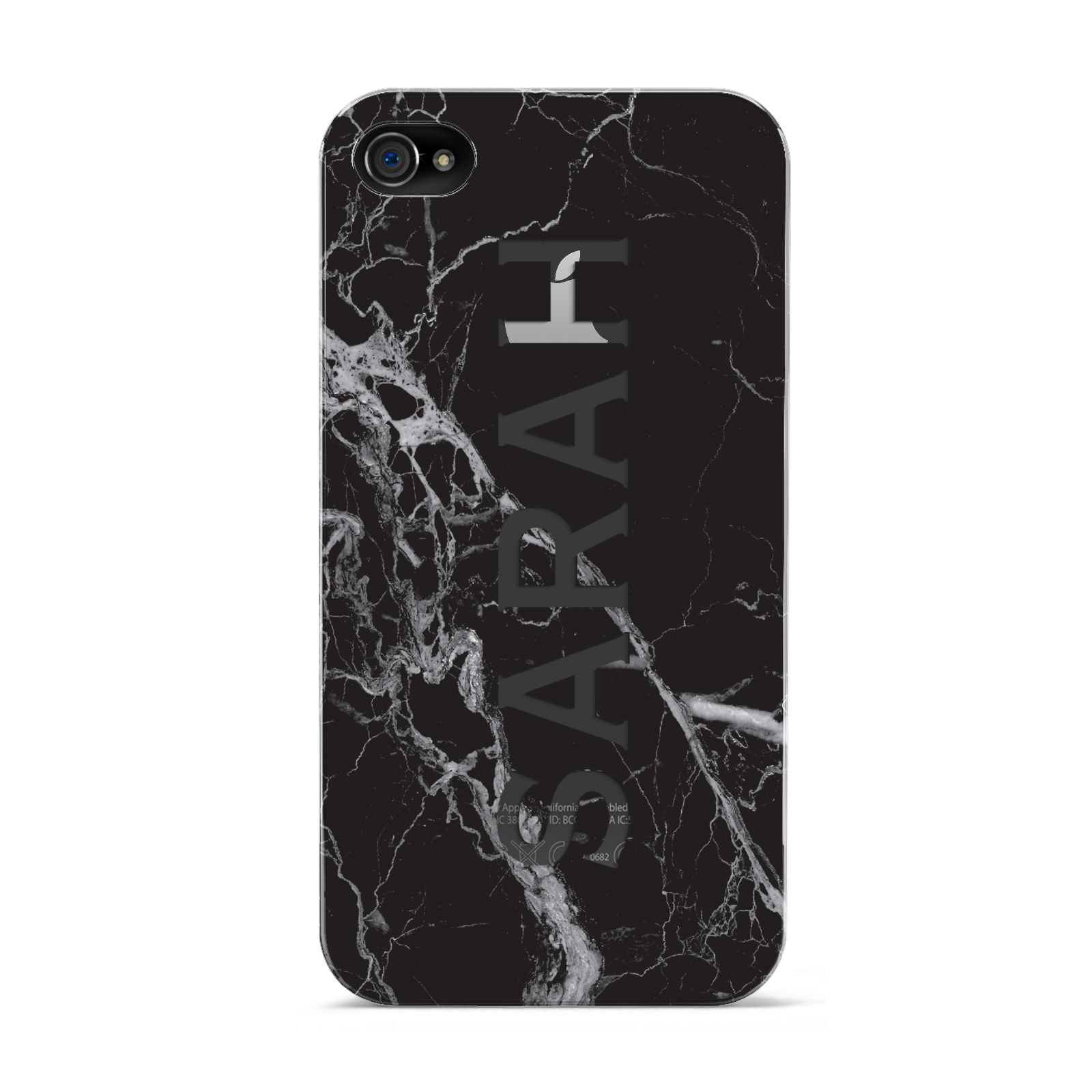 Personalised Clear Name Cutout Black Marble Custom Apple iPhone 4s Case