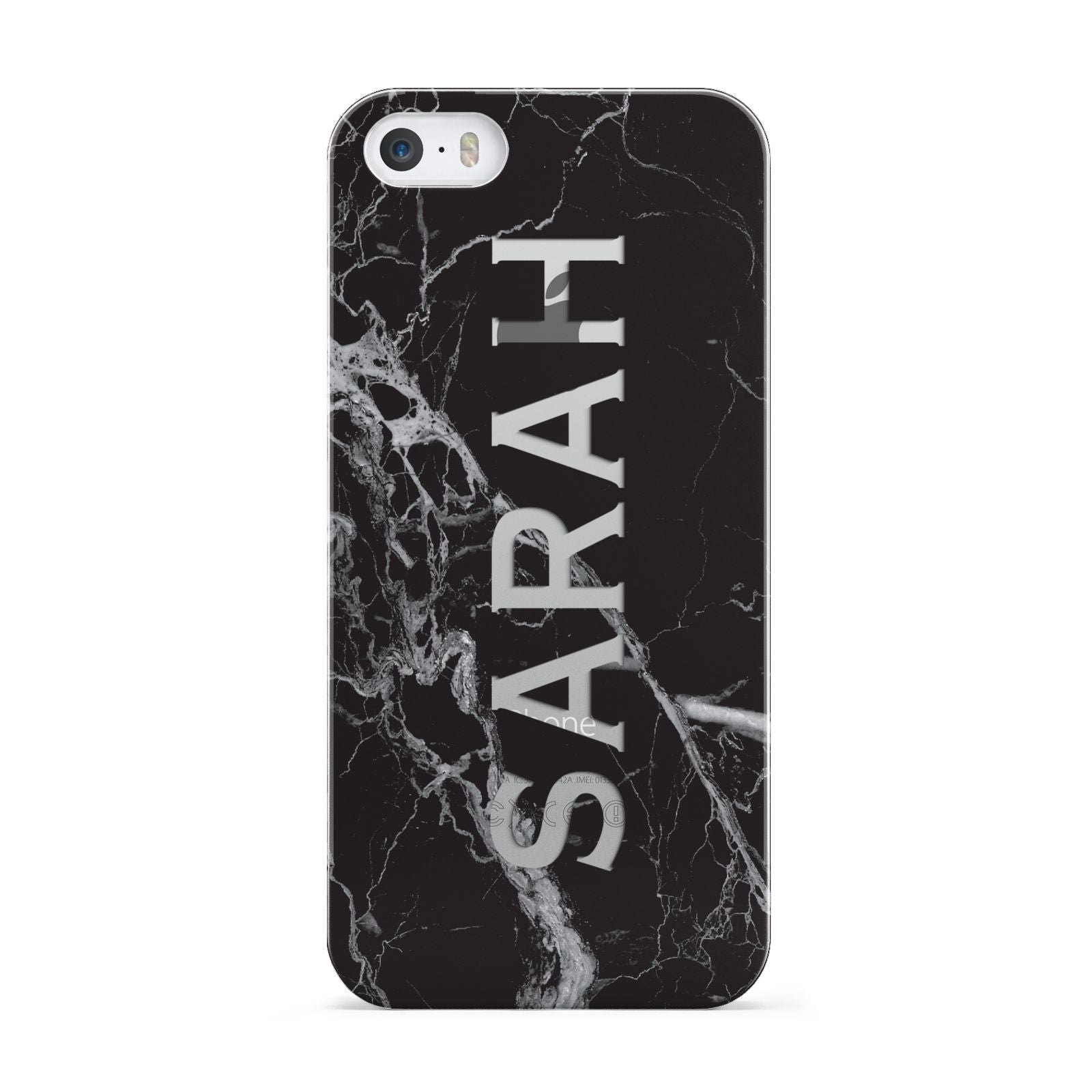 Personalised Clear Name Cutout Black Marble Custom Apple iPhone 5 Case