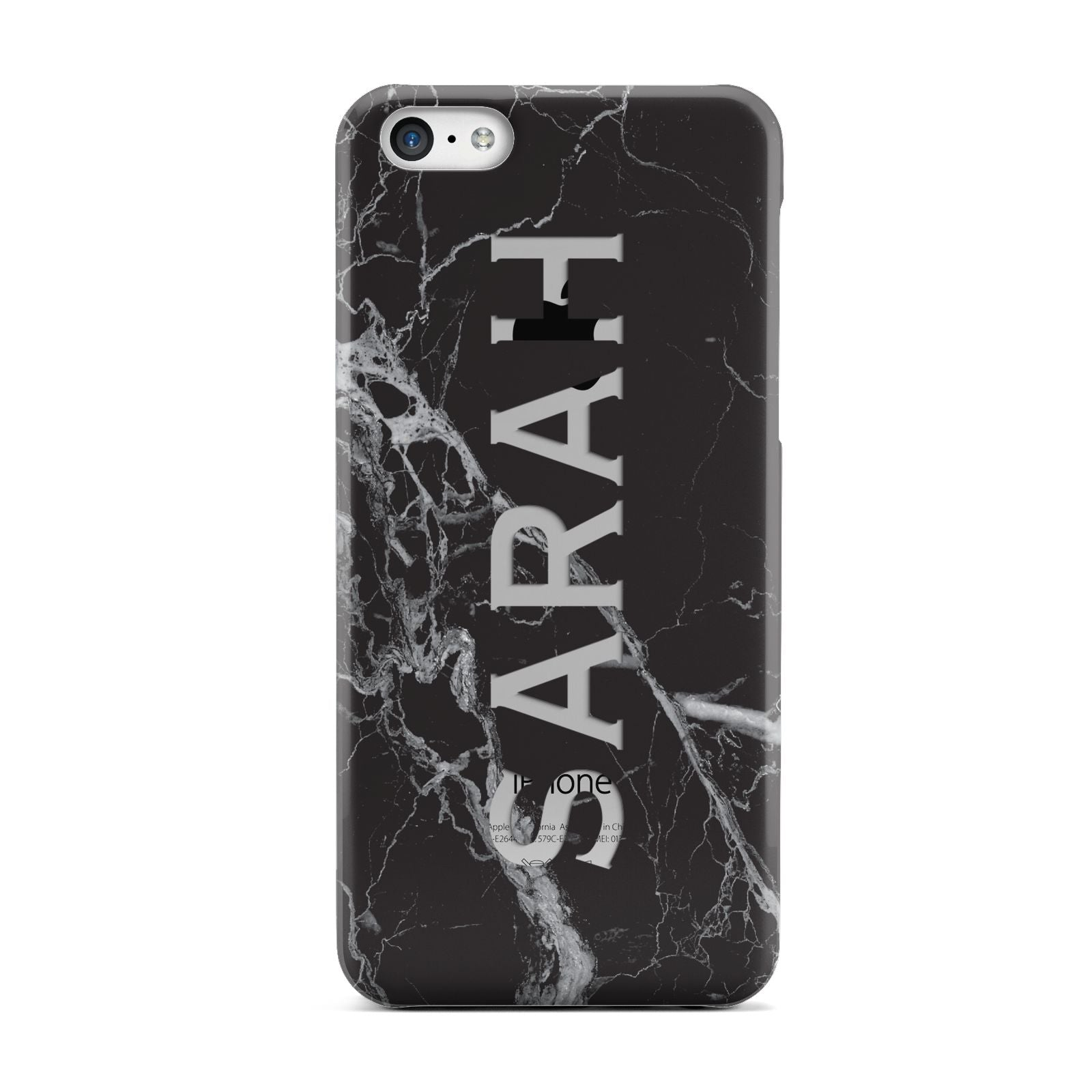 Personalised Clear Name Cutout Black Marble Custom Apple iPhone 5c Case