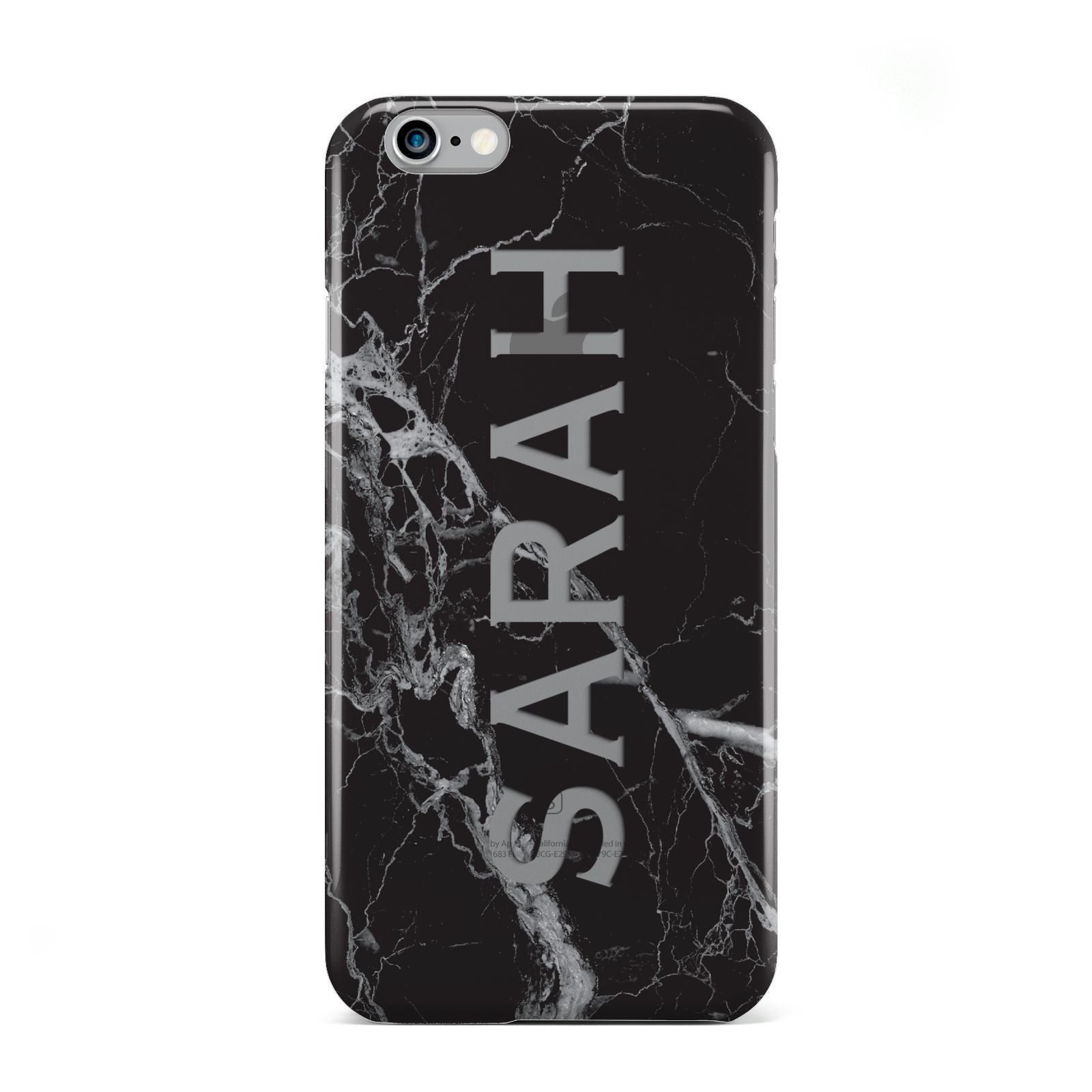 Personalised Clear Name Cutout Black Marble Custom Apple iPhone 6 Case