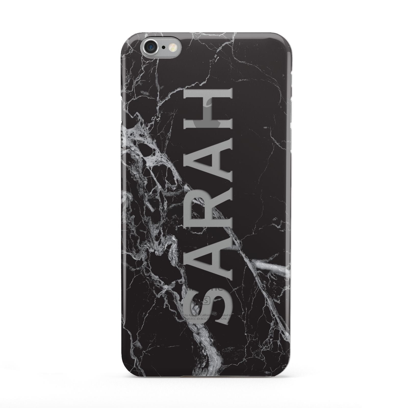 Personalised Clear Name Cutout Black Marble Custom Apple iPhone 6 Plus Case