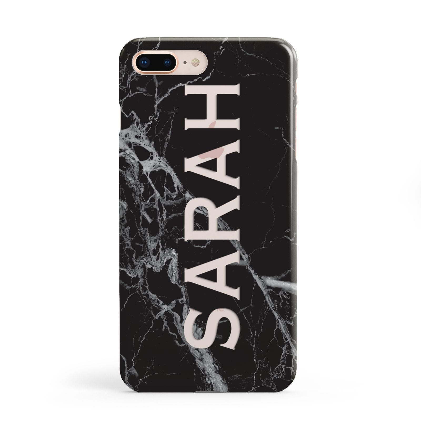 Personalised Clear Name Cutout Black Marble Custom Apple iPhone 8 Plus Case