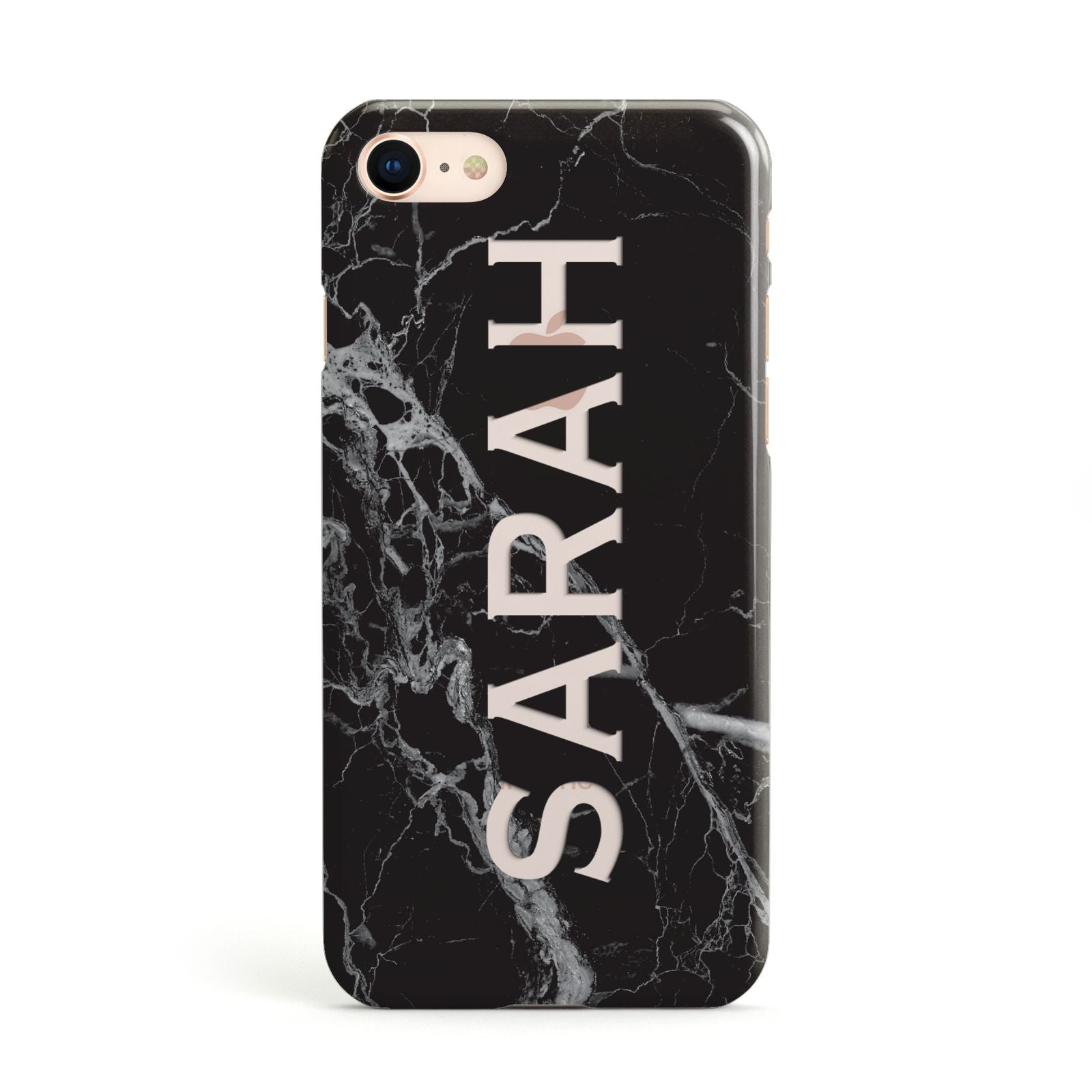 Personalised Clear Name Cutout Black Marble Custom Apple iPhone Case