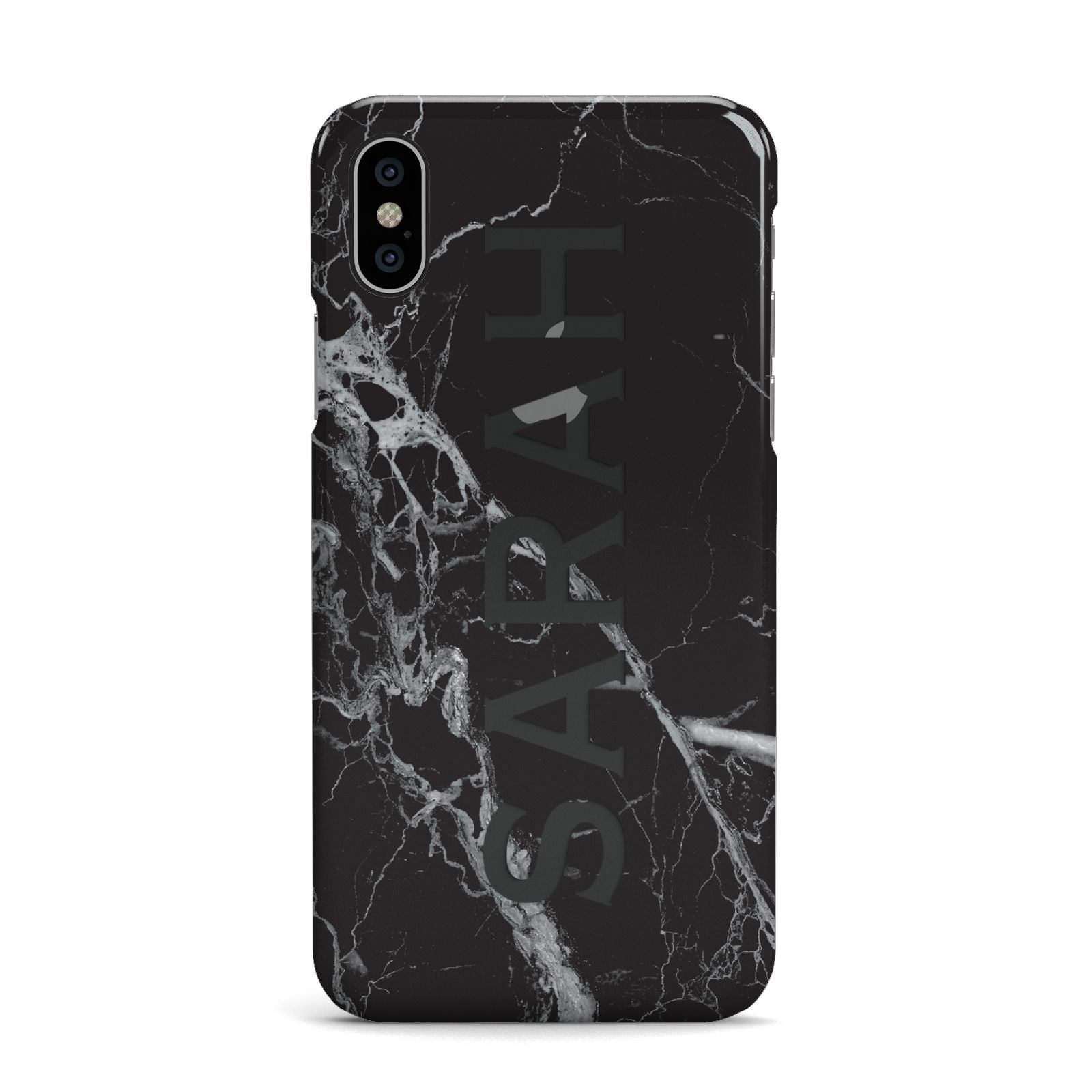 Personalised Clear Name Cutout Black Marble Custom Apple iPhone X Case