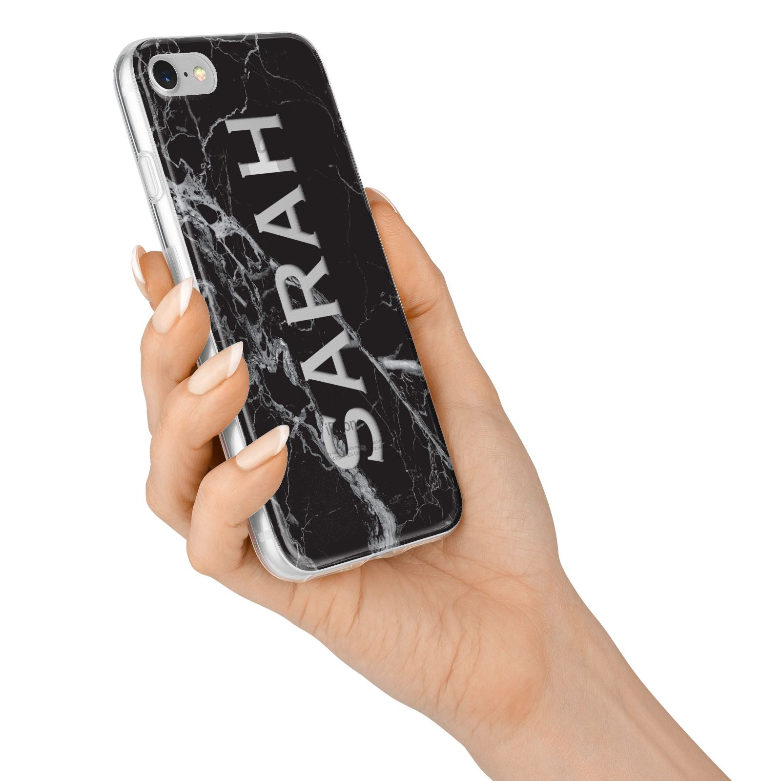Personalised Clear Name Cutout Black Marble Custom iPhone 7 Bumper Case on Silver iPhone Alternative Image