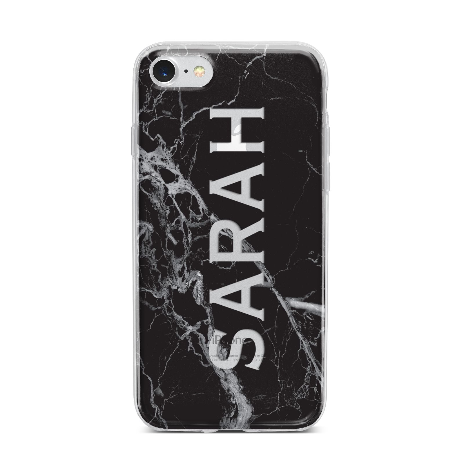 Personalised Clear Name Cutout Black Marble Custom iPhone 7 Bumper Case on Silver iPhone