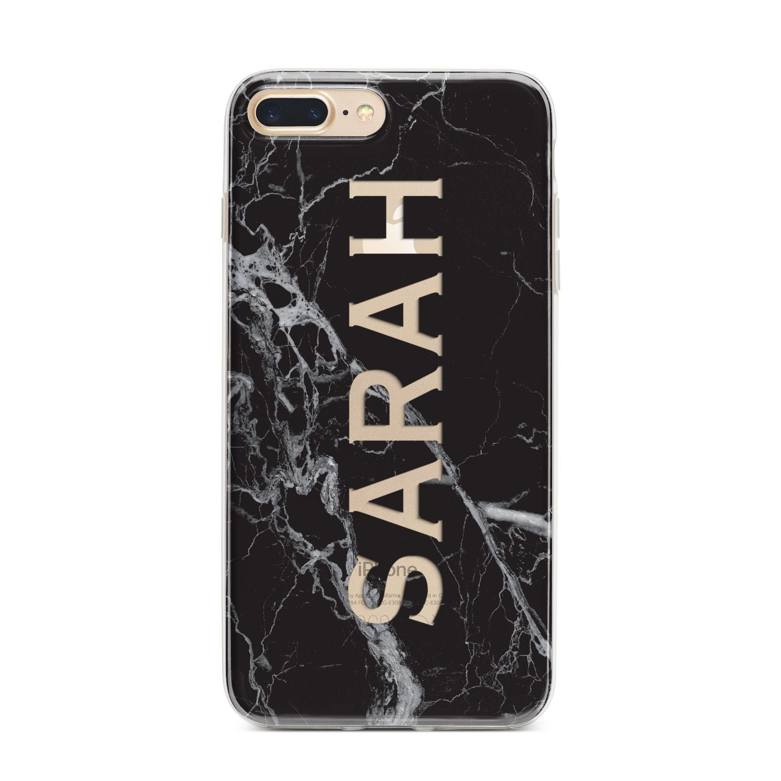 Personalised Clear Name Cutout Black Marble Custom iPhone 7 Plus Bumper Case on Gold iPhone