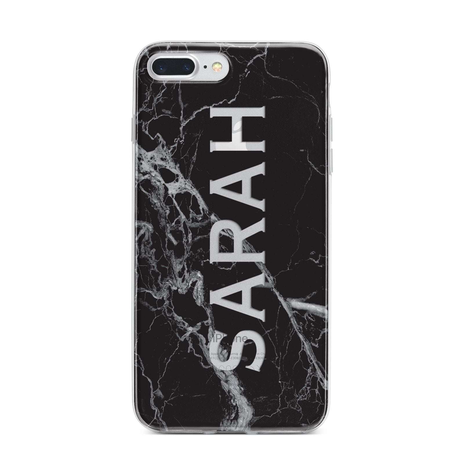 Personalised Clear Name Cutout Black Marble Custom iPhone 7 Plus Bumper Case on Silver iPhone