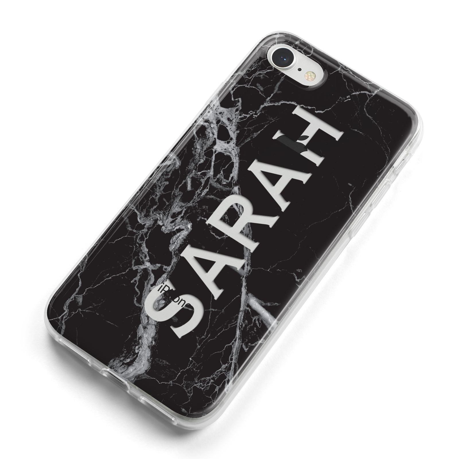 Personalised Clear Name Cutout Black Marble Custom iPhone 8 Bumper Case on Silver iPhone Alternative Image