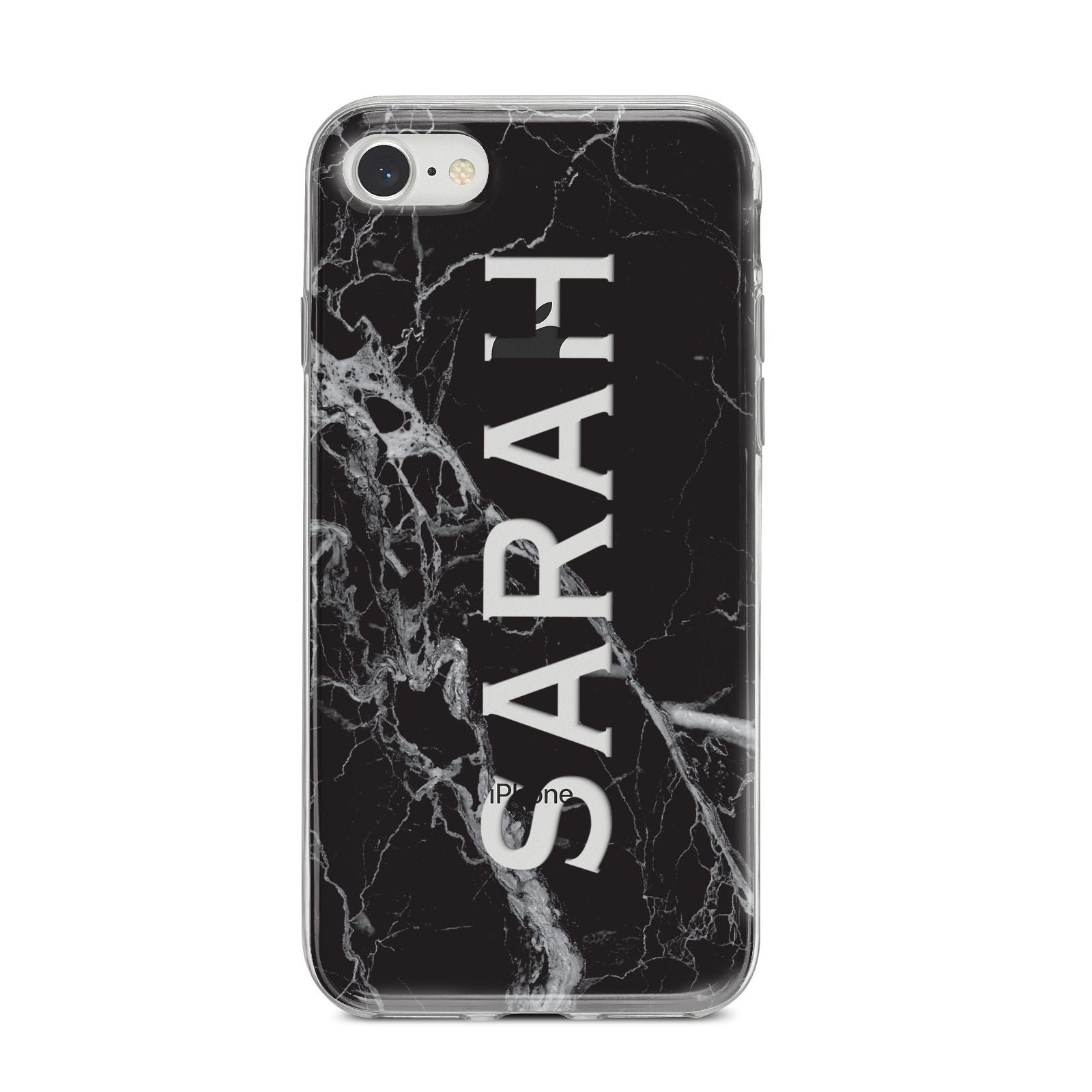 Personalised Clear Name Cutout Black Marble Custom iPhone 8 Bumper Case on Silver iPhone