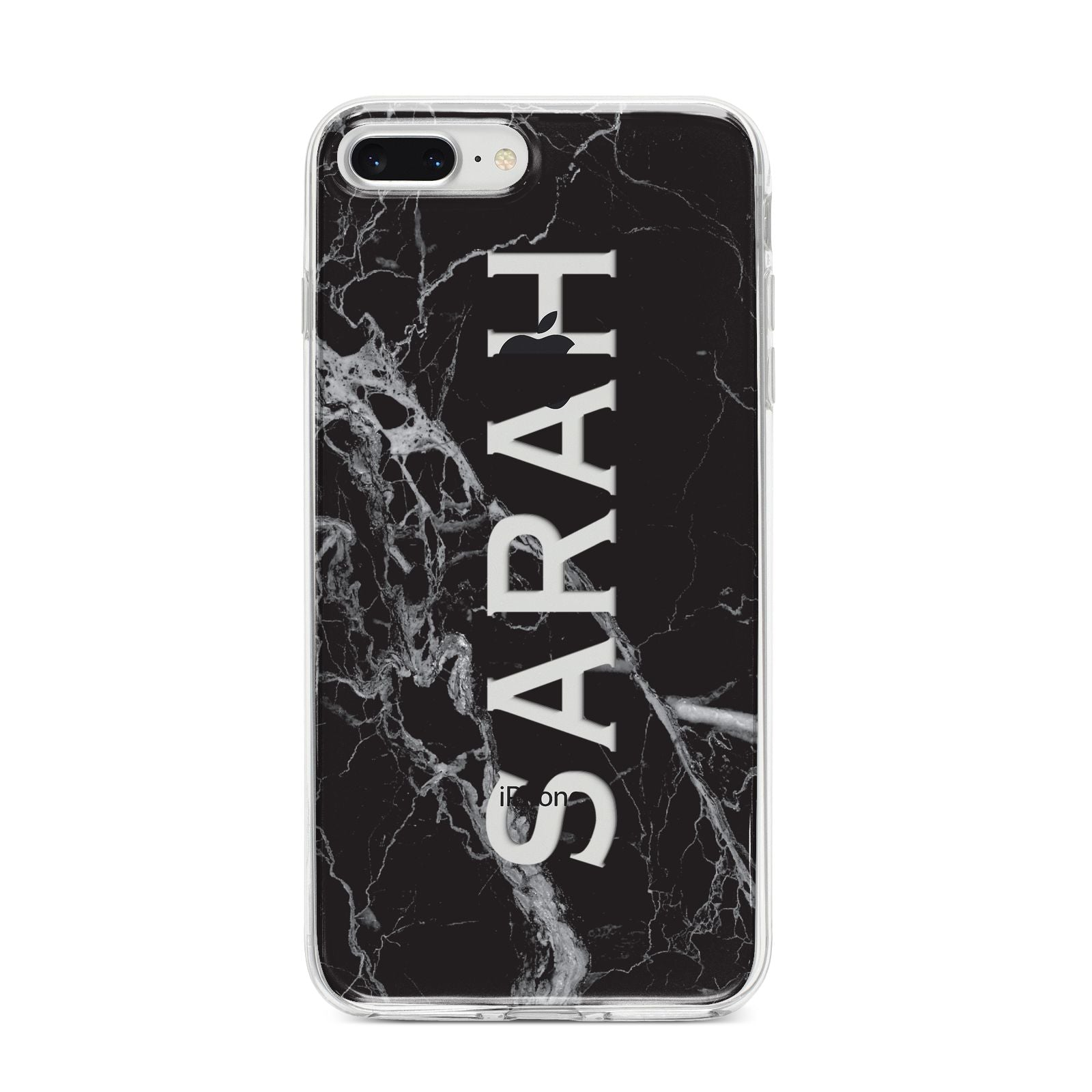 Personalised Clear Name Cutout Black Marble Custom iPhone 8 Plus Bumper Case on Silver iPhone