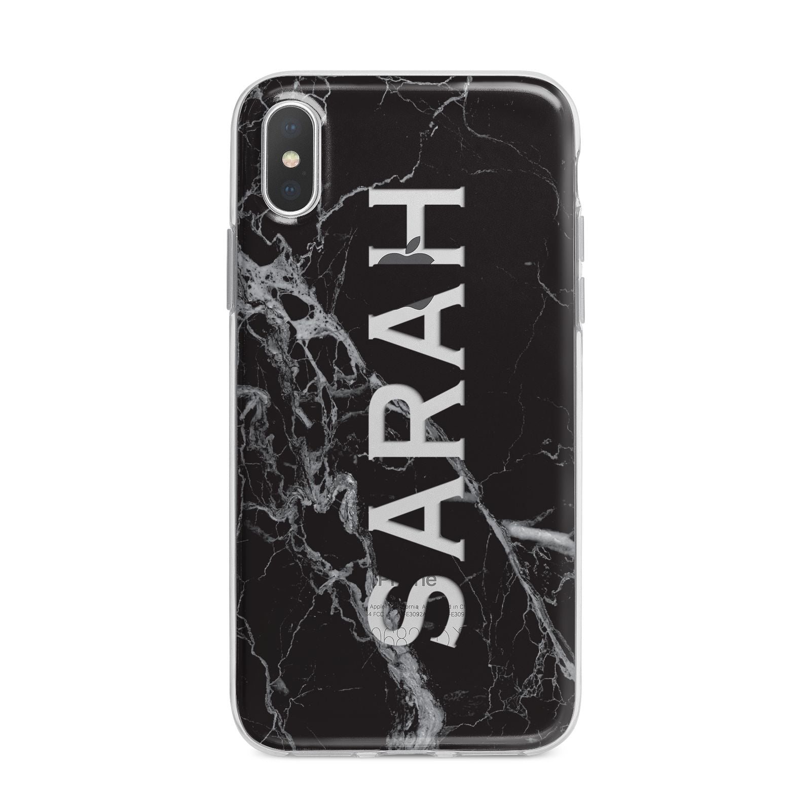 Personalised Clear Name Cutout Black Marble Custom iPhone X Bumper Case on Silver iPhone Alternative Image 1