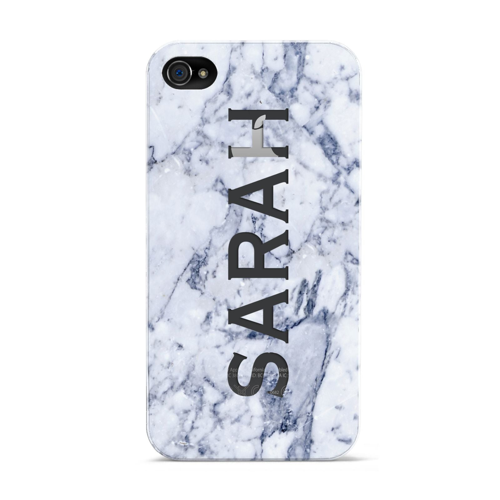 Personalised Clear Name Cutout Blue Marble Custom Apple iPhone 4s Case