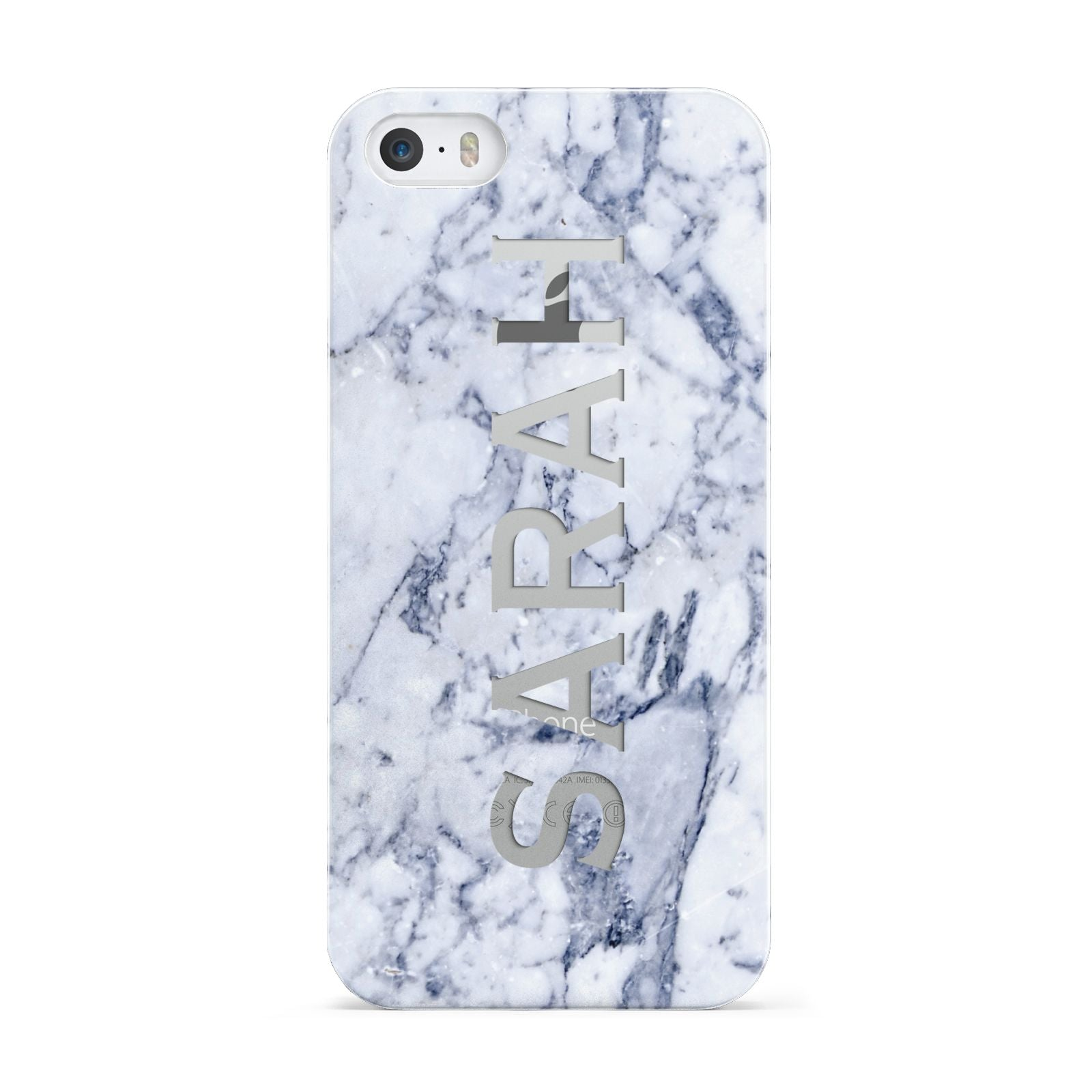 Personalised Clear Name Cutout Blue Marble Custom Apple iPhone 5 Case