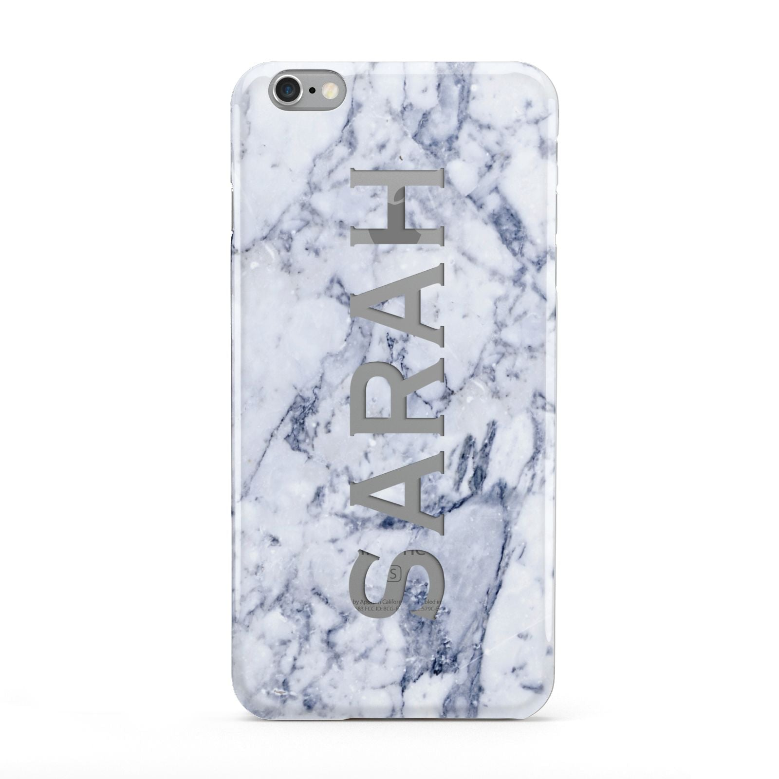 Personalised Clear Name Cutout Blue Marble Custom Apple iPhone 6 Plus Case