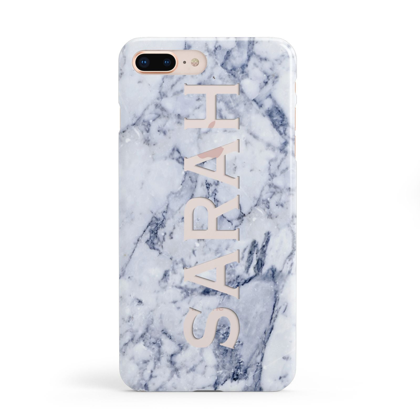 Personalised Clear Name Cutout Blue Marble Custom Apple iPhone 8 Plus Case