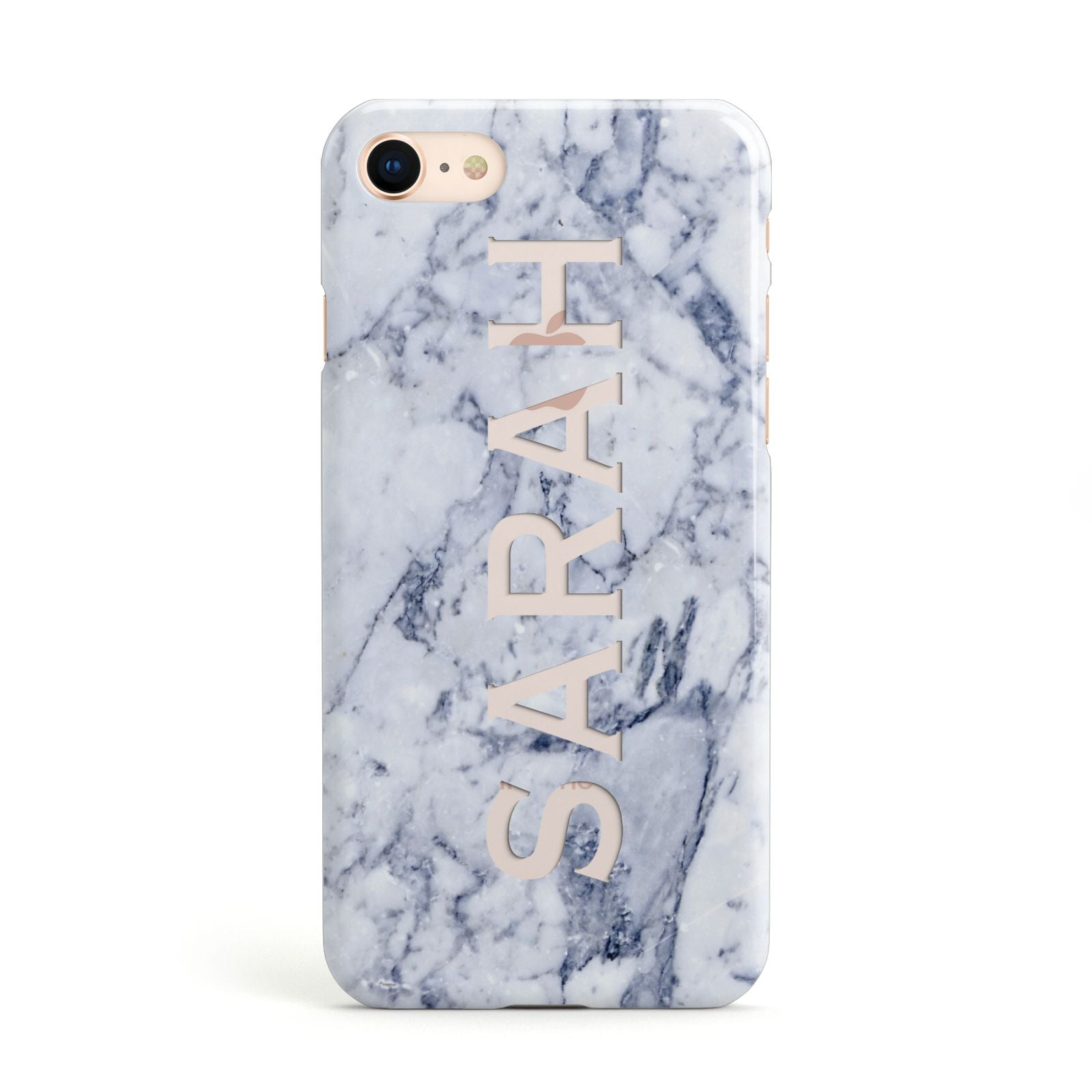 Personalised Clear Name Cutout Blue Marble Custom Apple iPhone Case