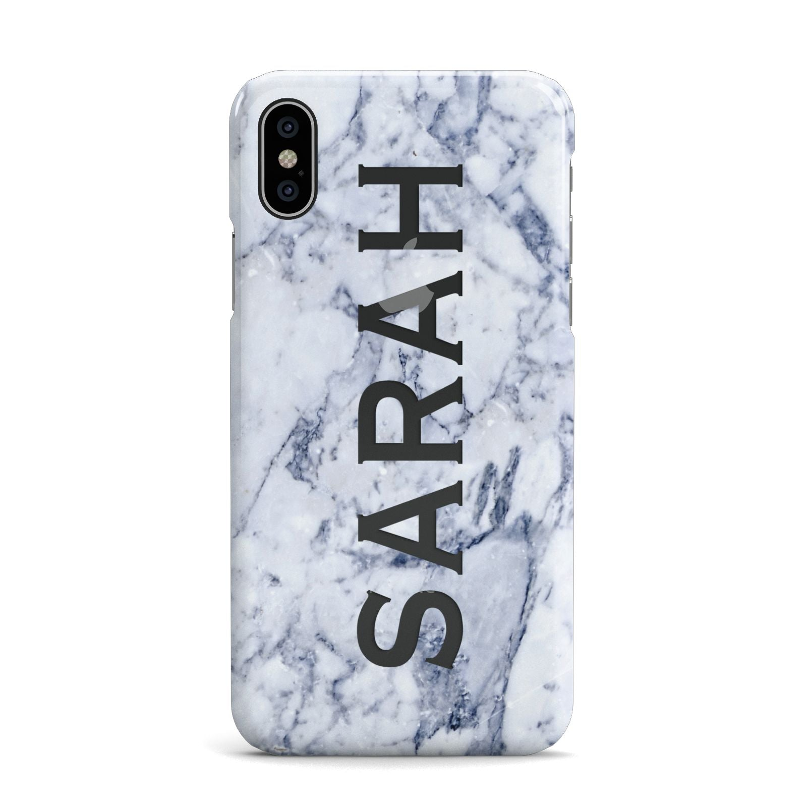 Personalised Clear Name Cutout Blue Marble Custom Apple iPhone X Case