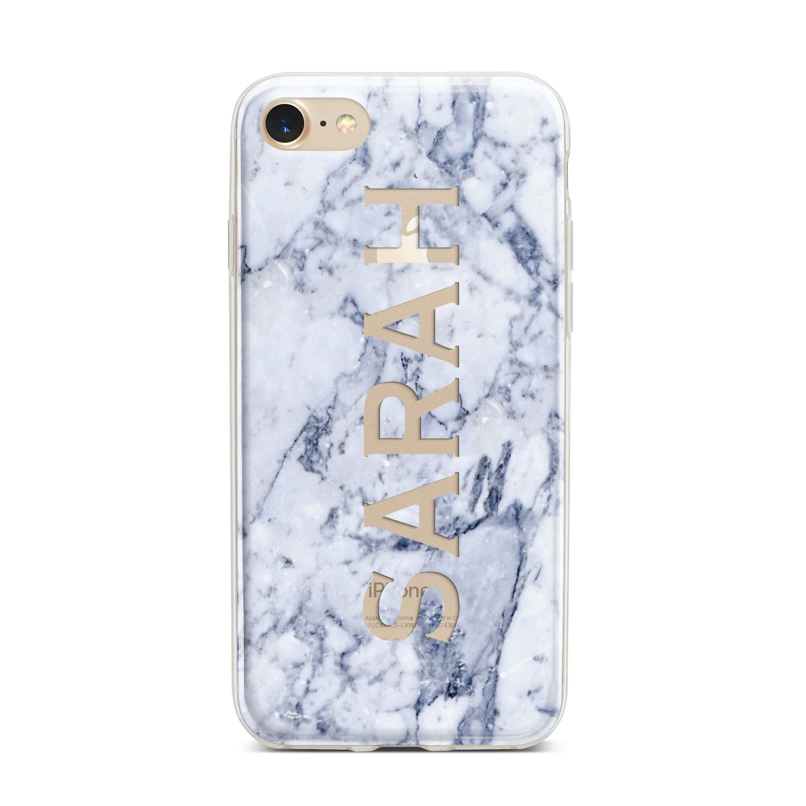 Personalised Clear Name Cutout Blue Marble Custom iPhone 7 Bumper Case on Gold iPhone