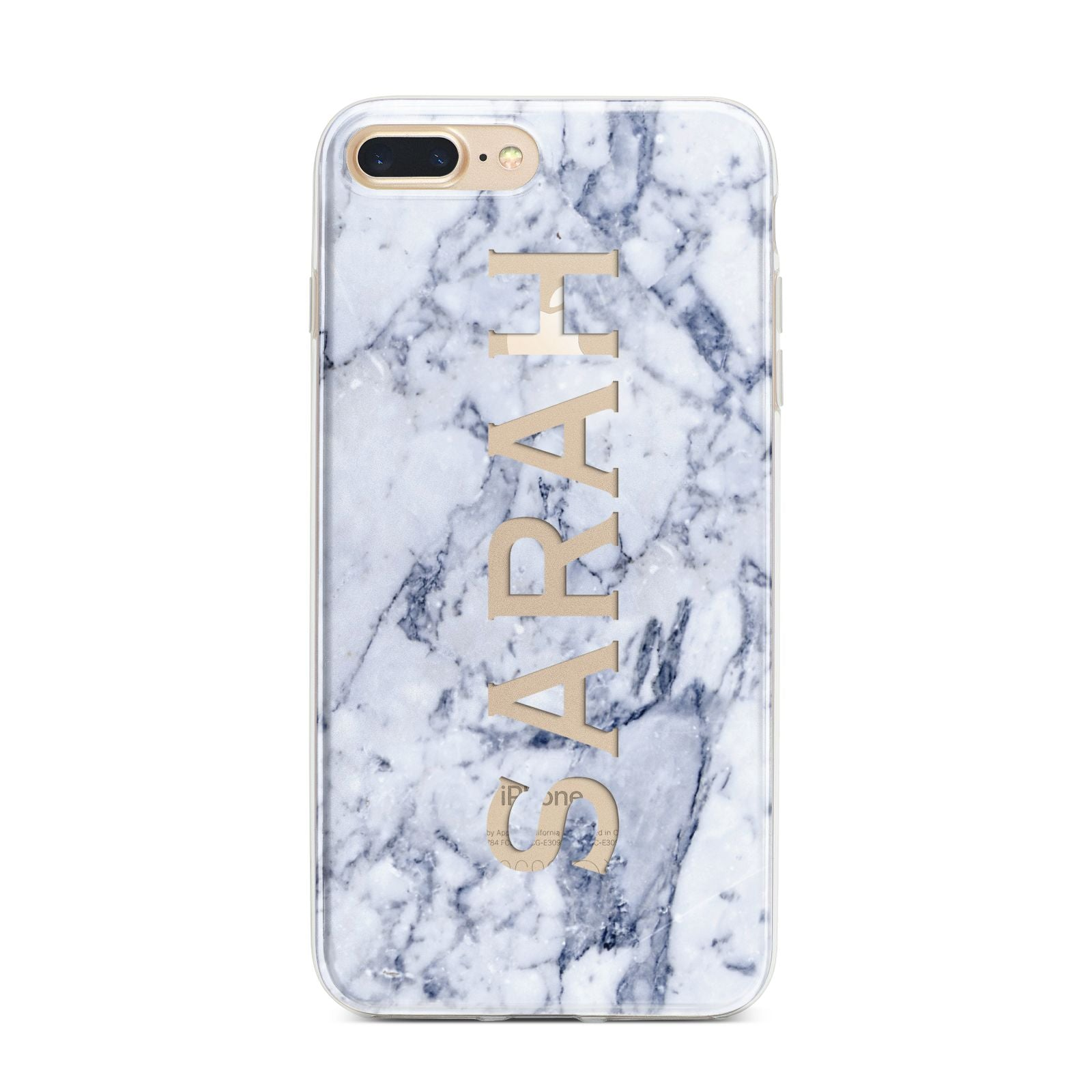 Personalised Clear Name Cutout Blue Marble Custom iPhone 7 Plus Bumper Case on Gold iPhone
