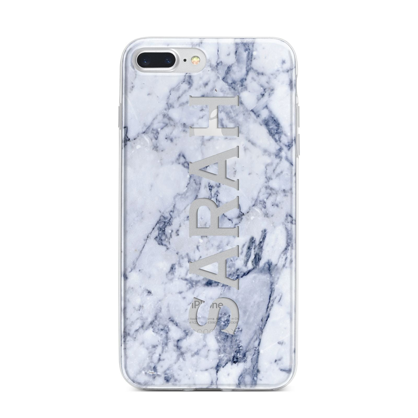 Personalised Clear Name Cutout Blue Marble Custom iPhone 7 Plus Bumper Case on Silver iPhone